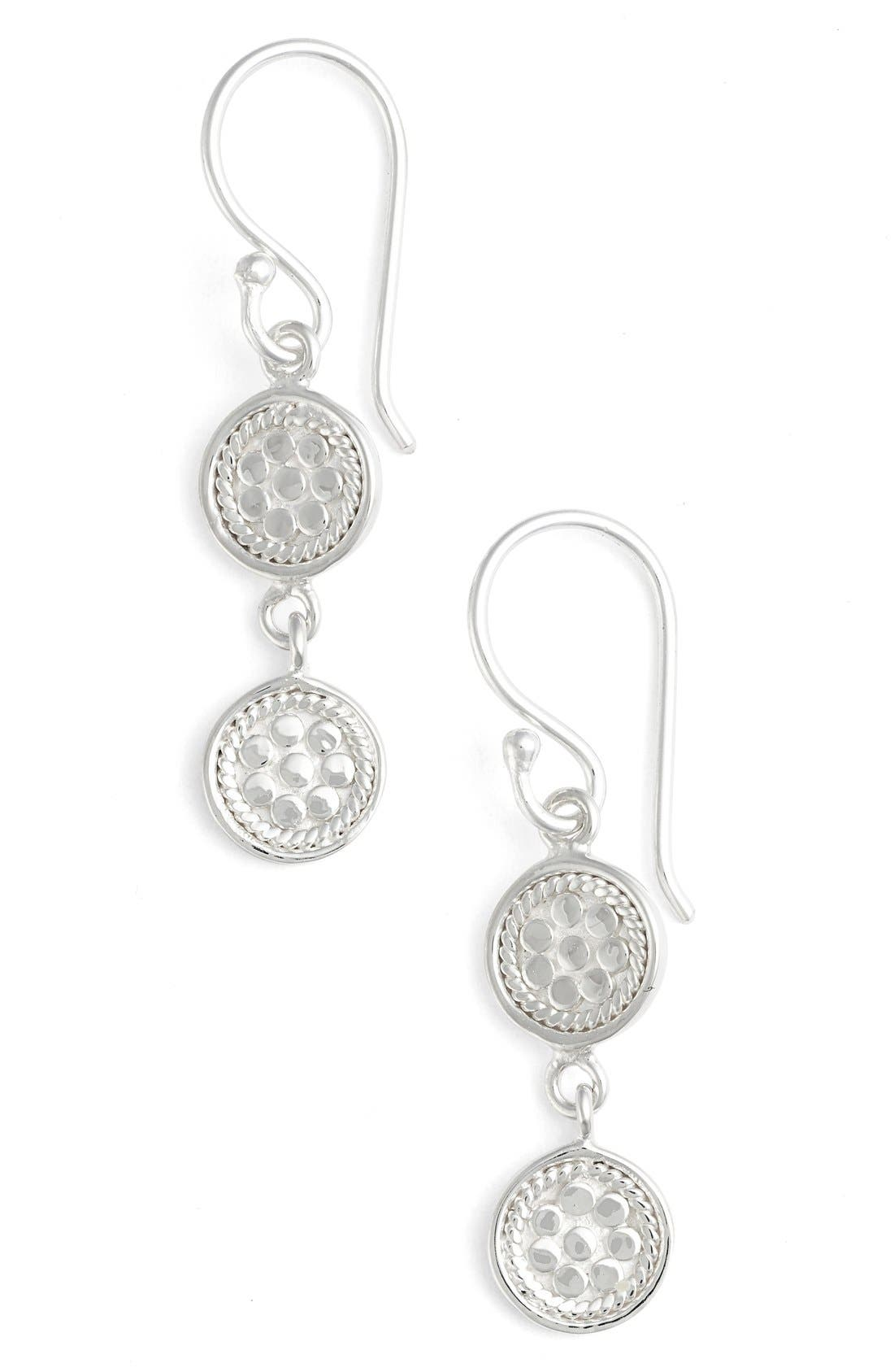ANNA BECK Double Disc Drop Earrings, Main, color, SILVER