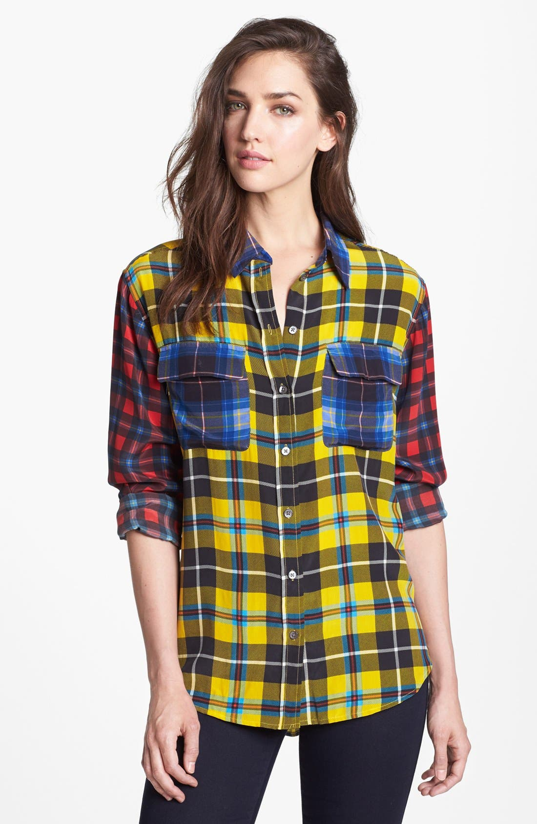 'Signature' Plaid Silk Shirt, Main, color, 740