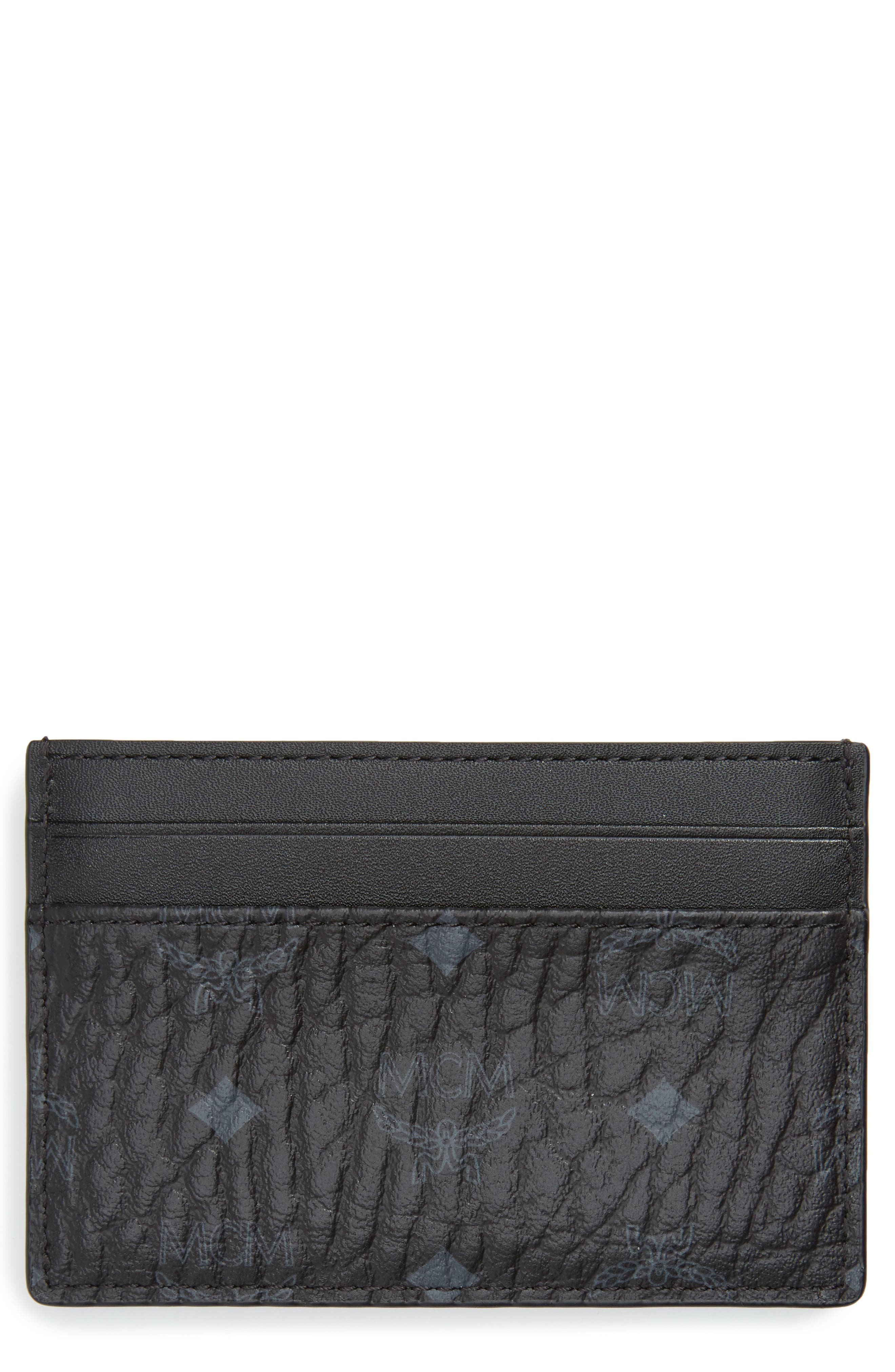 Logo Leather Card Case, Main, color, BLACK