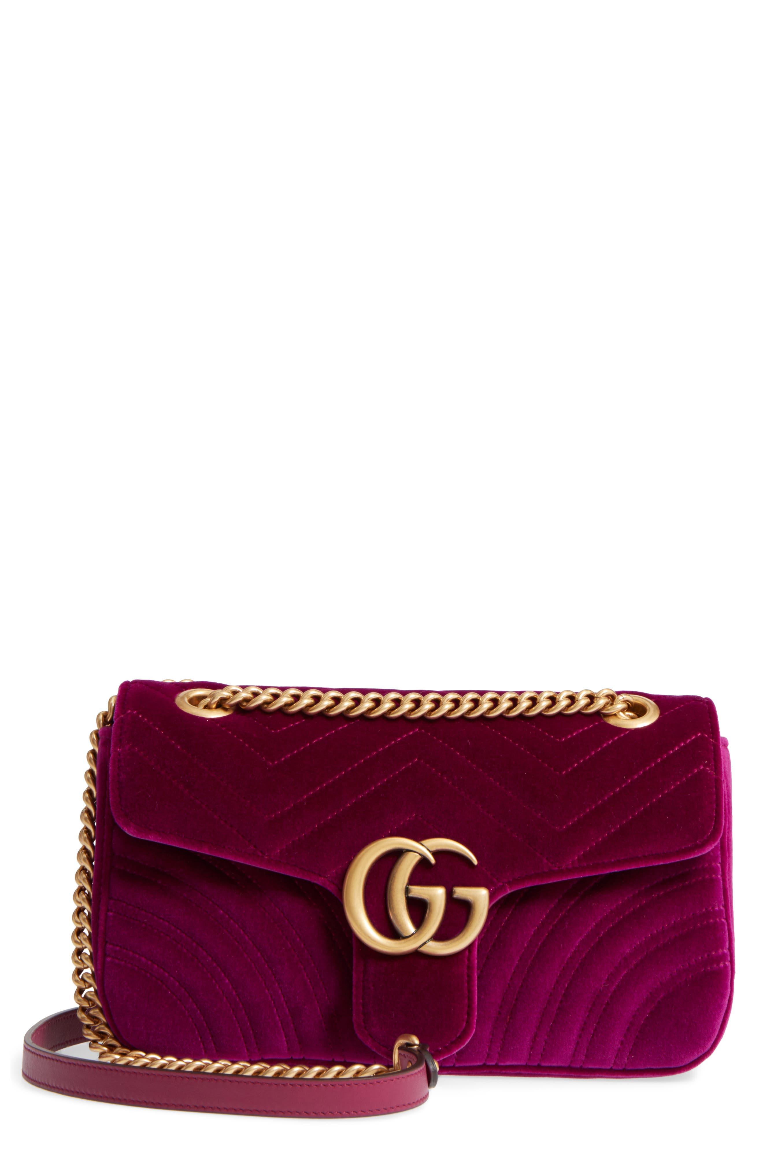GUCCI,                             Medium GG Marmont 2.0 Matelassé Velvet Shoulder Bag,                             Main thumbnail 1, color,                             FUCSIA