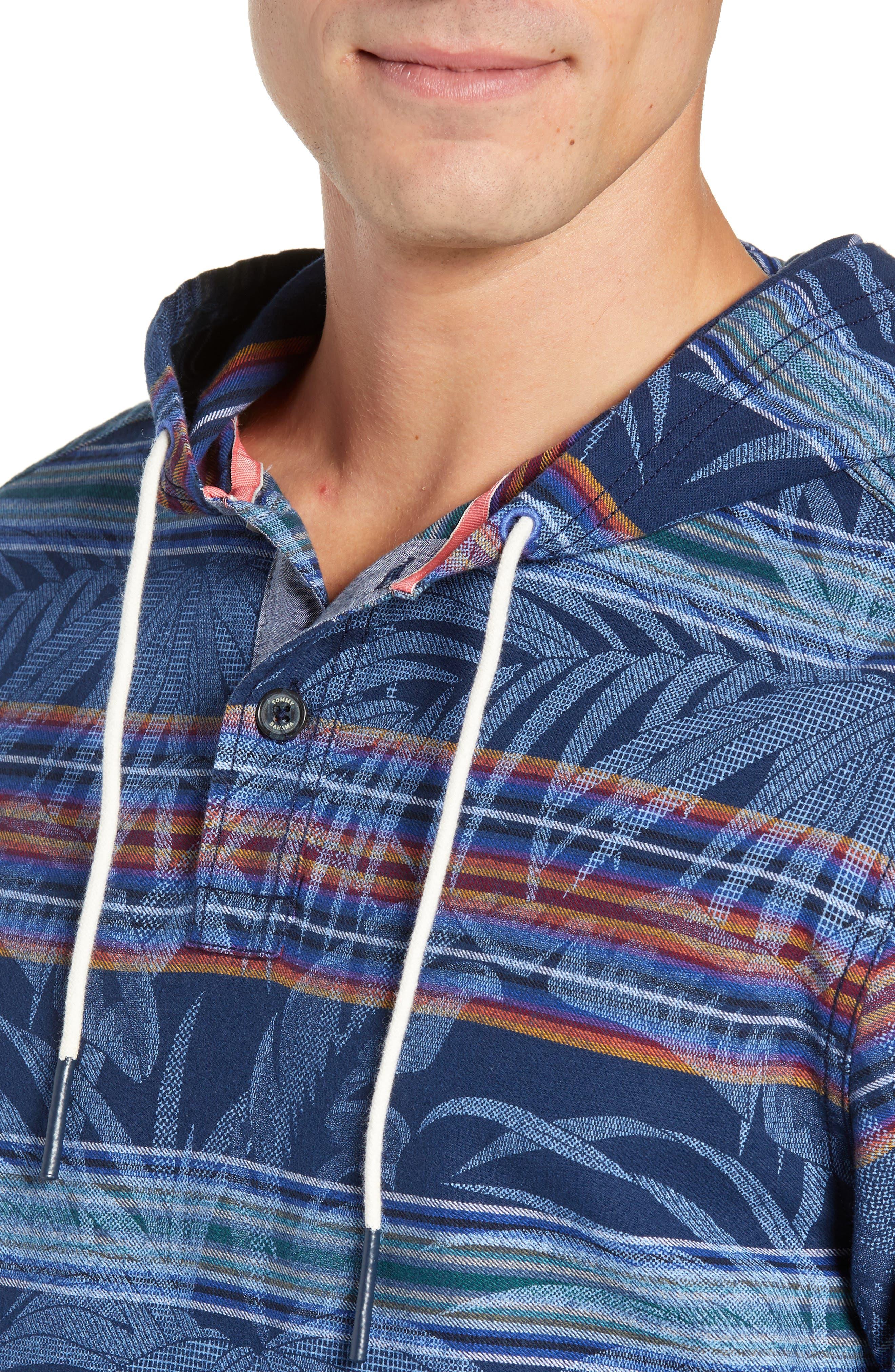 Island Serape Stripe Pullover Hoodie,                             Alternate thumbnail 4, color,                             OCEAN DEEP