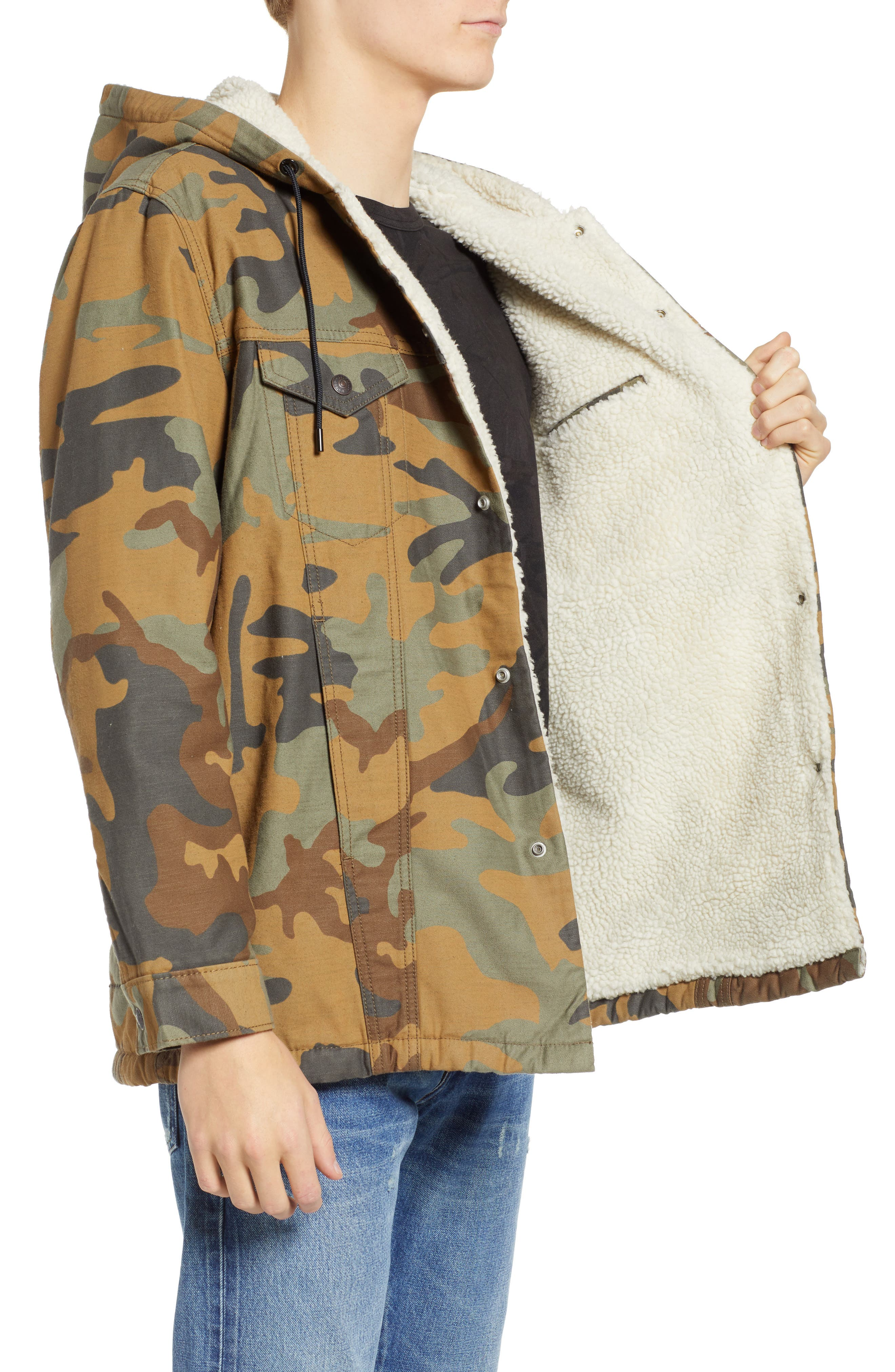 x Justin Timberlake Faux Shearling Hooded Trucker Jacket,                             Alternate thumbnail 4, color,                             CAMO