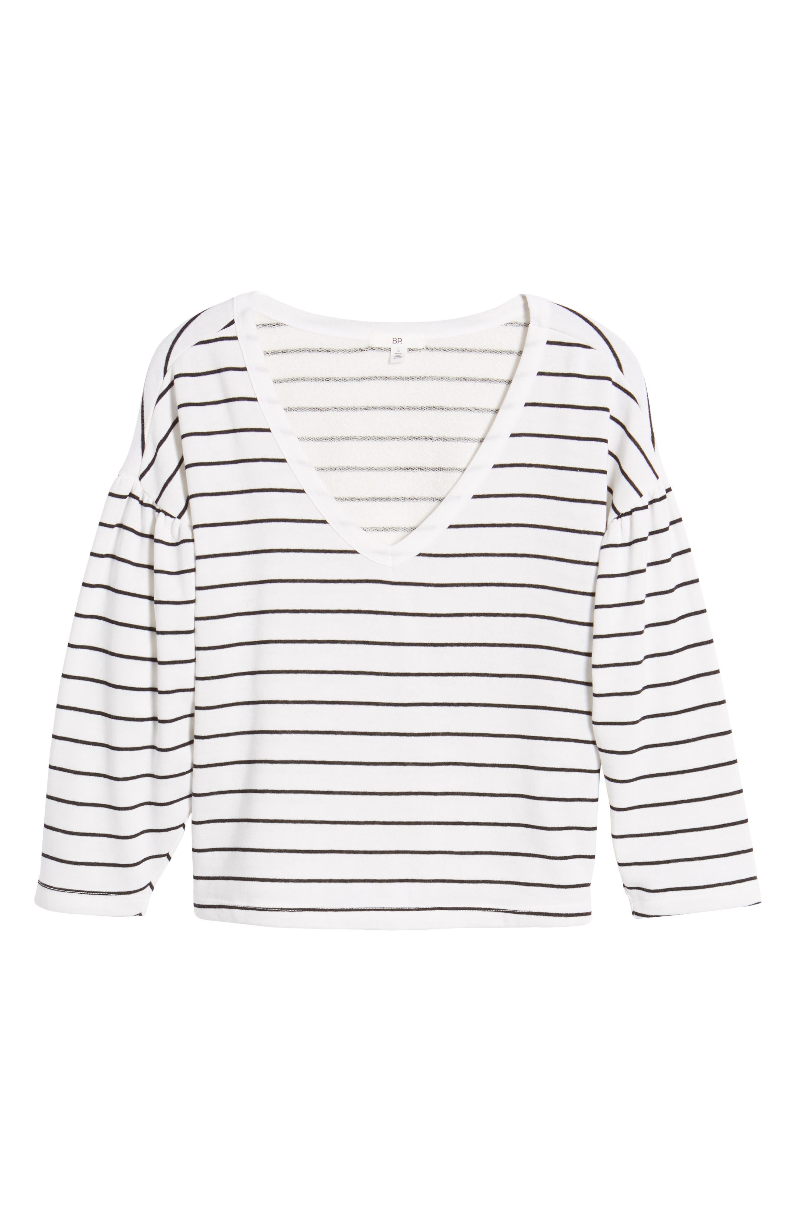 Drop Shoulder Stripe Sweater,                             Alternate thumbnail 6, color,                             001
