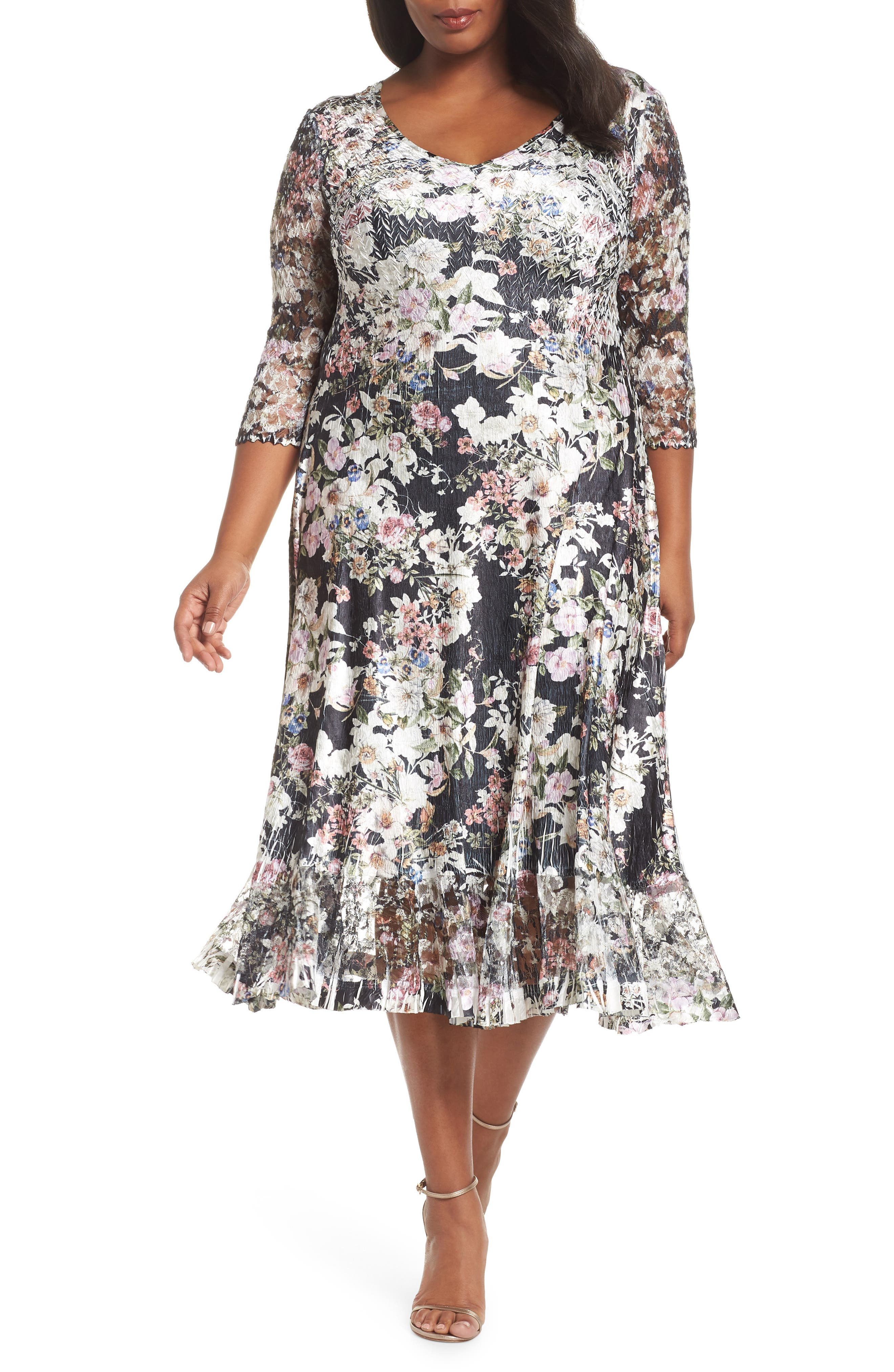 KOMAROV Charmeuse & Lace A-Line Dress, Main, color, BLOOMING VINE
