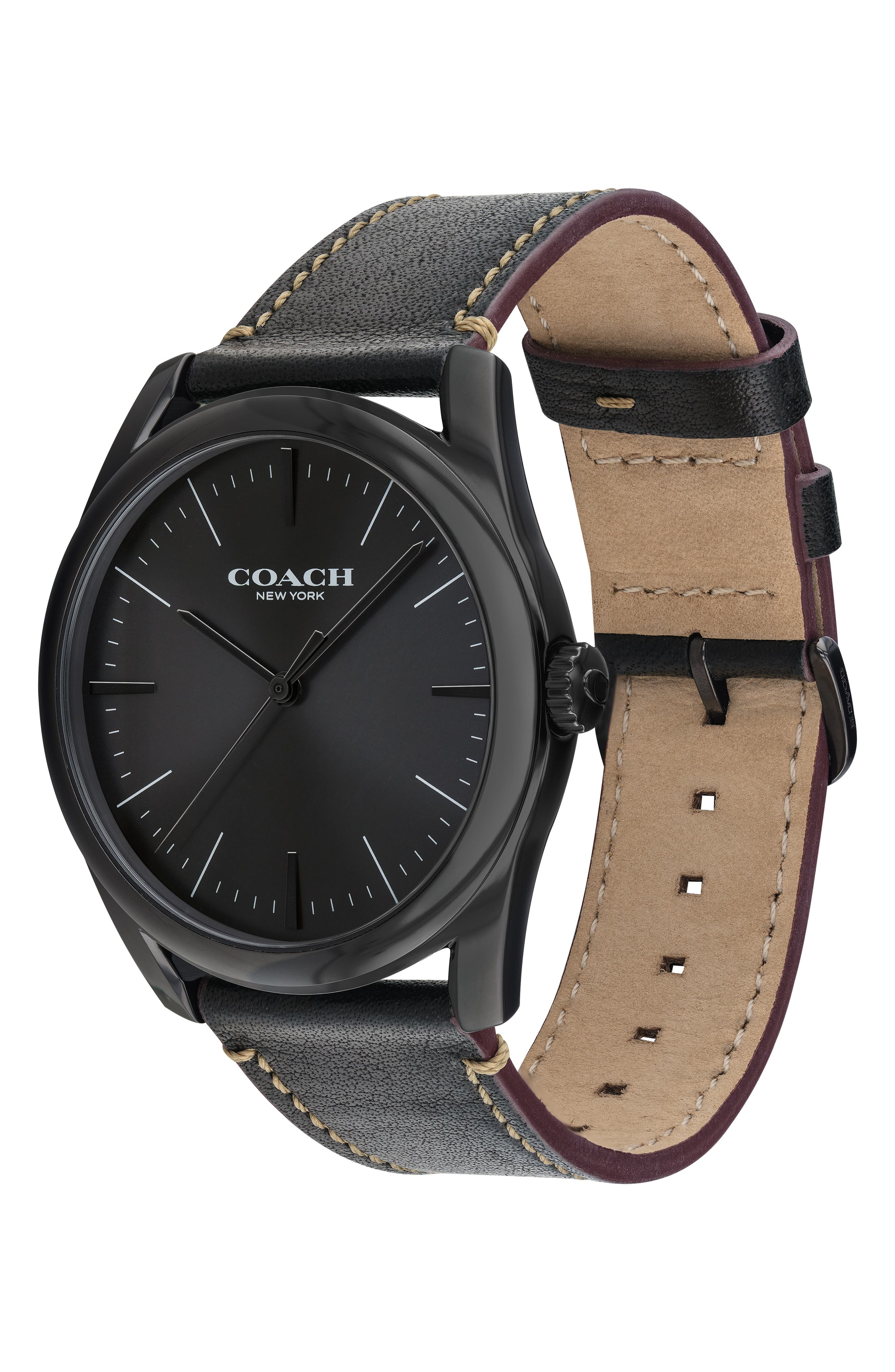 Preston Leather Strap Watch, 41mm,                             Alternate thumbnail 3, color,                             001