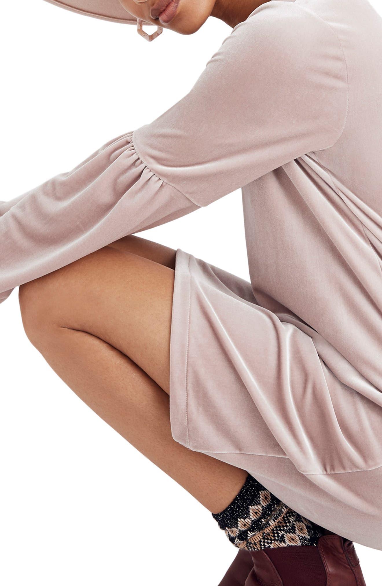 Balloon Sleeve Velvet Dress,                             Alternate thumbnail 4, color,                             WISTERIA DOVE