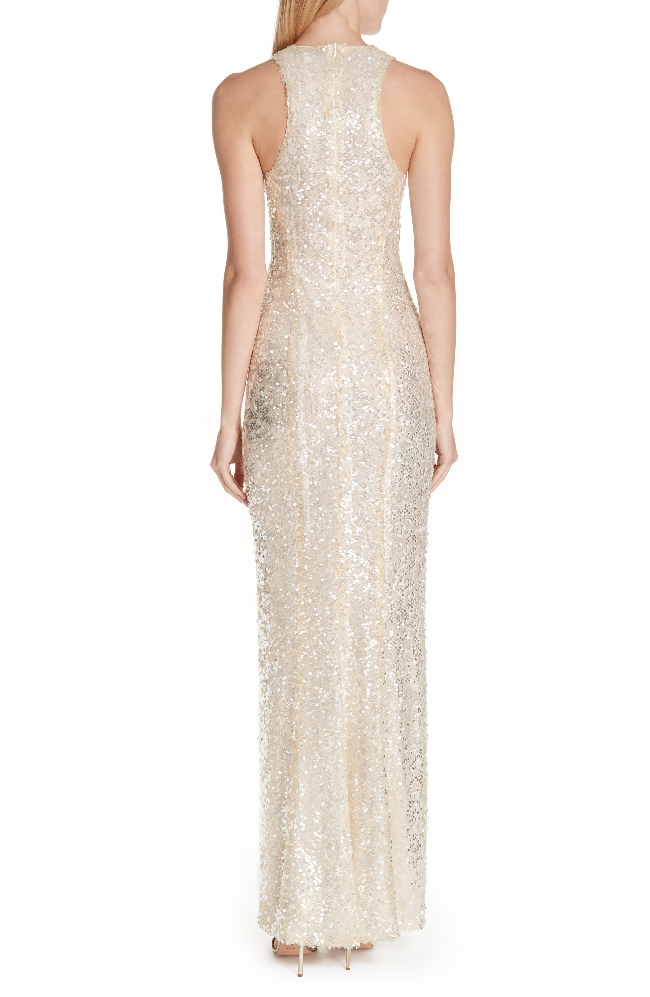 Sequin Racerback Gown,                             Alternate thumbnail 2, color,                             GOLD
