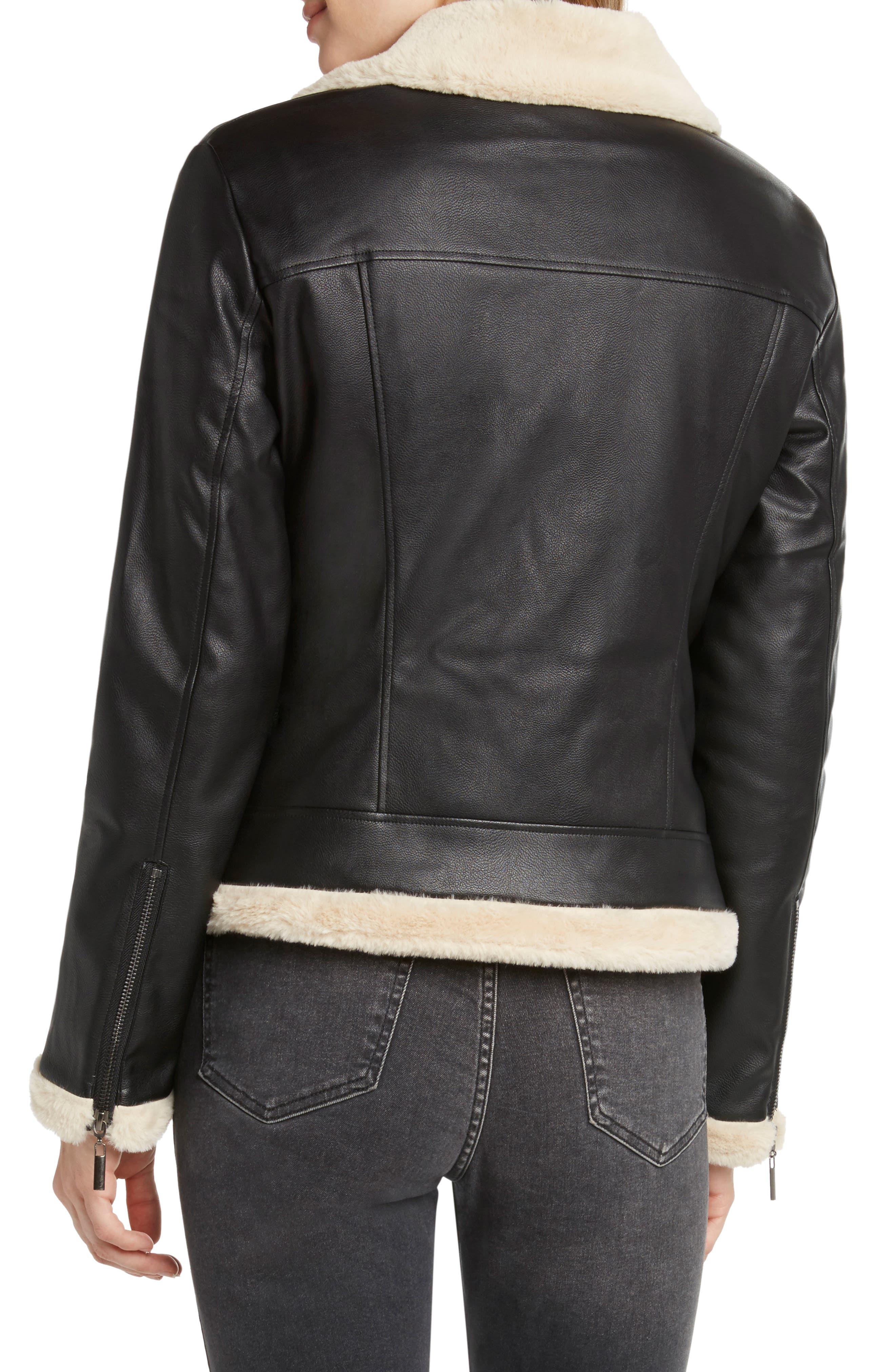 Faux Fur Lined Moto Jacket,                             Alternate thumbnail 2, color,                             BLACK