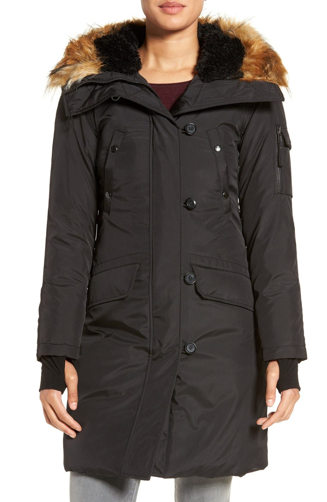 S13 'Alaska' Parka with Faux Fur Trim Hood,                             Alternate thumbnail 7, color,