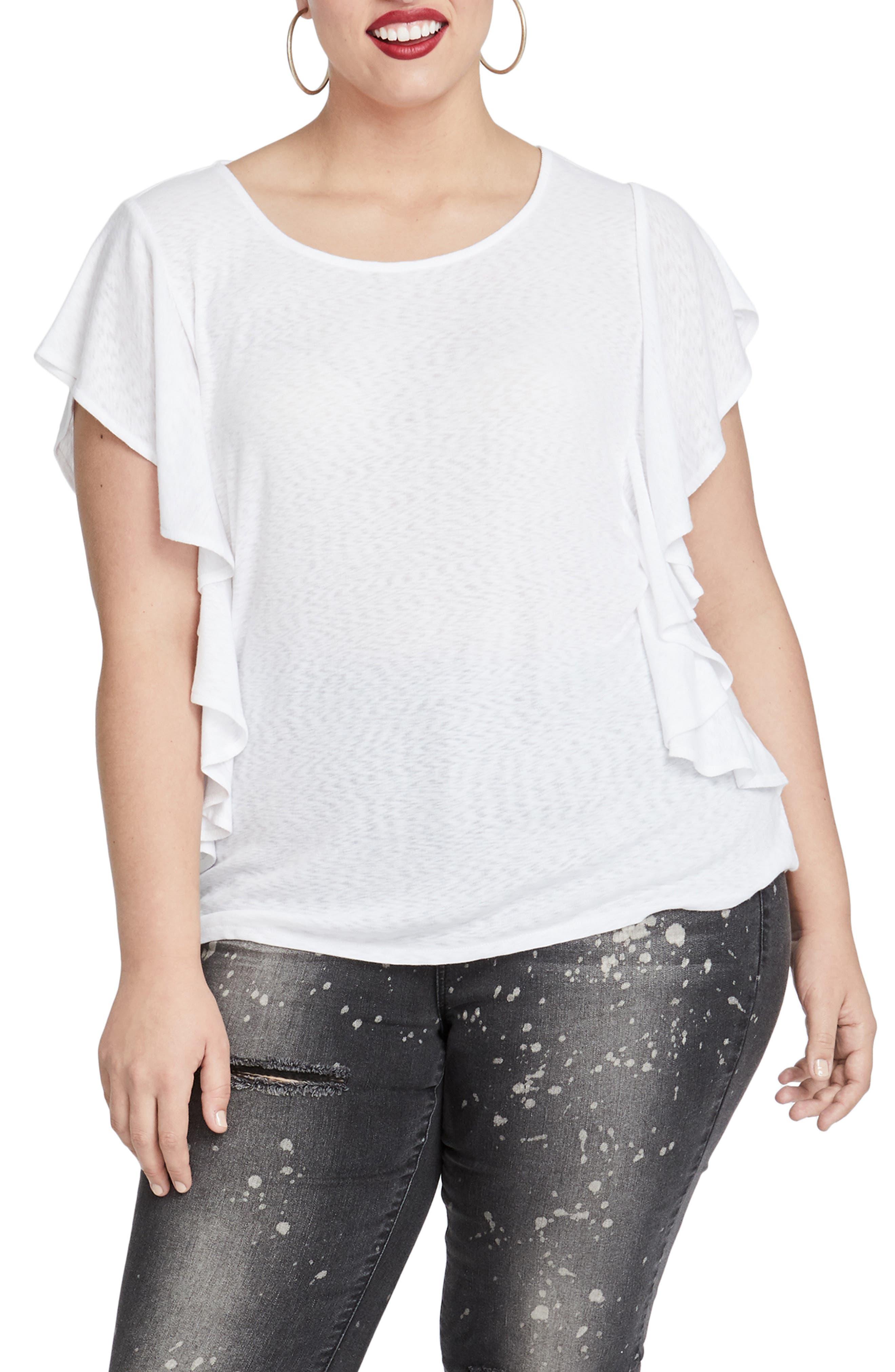 Greta Flutter Sleeve Top,                         Main,                         color, 100