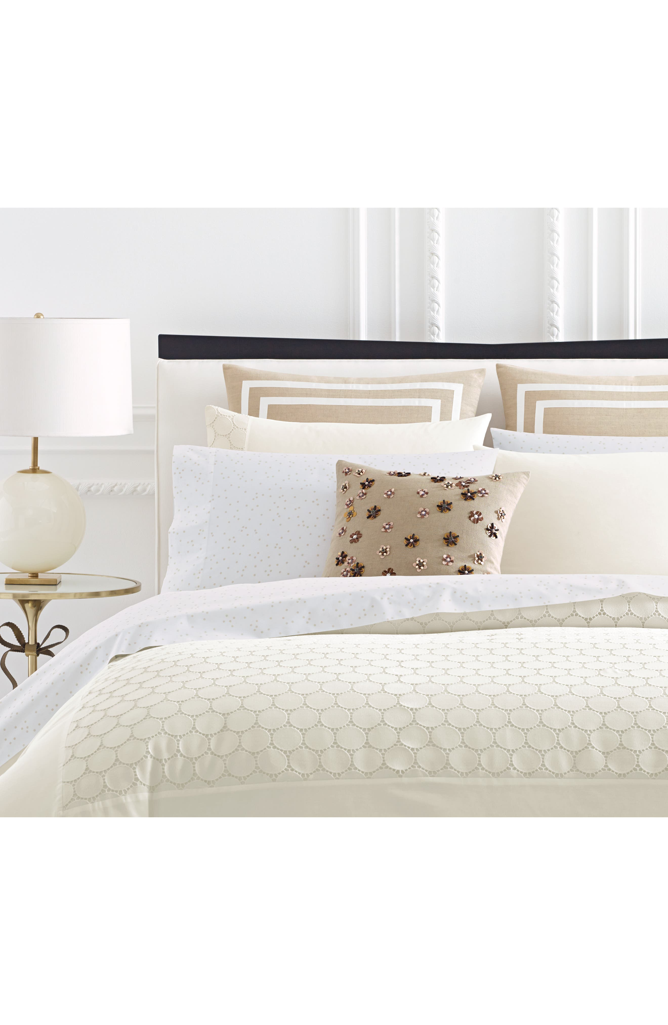 lace dot duvet cover & sham set,                             Alternate thumbnail 3, color,                             100