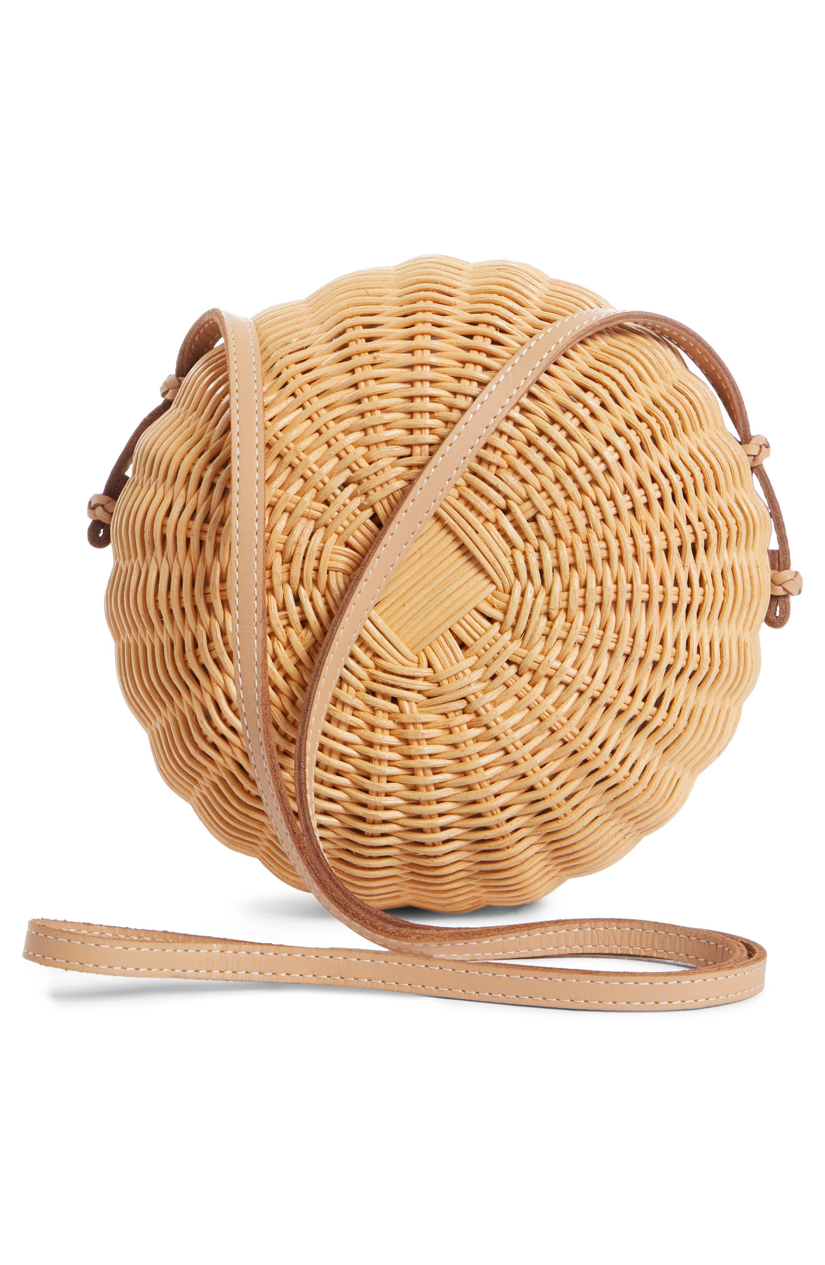 ULLA JOHNSON,                             Pomme Woven Rattan Shoulder Bag,                             Alternate thumbnail 3, color,                             NATURAL