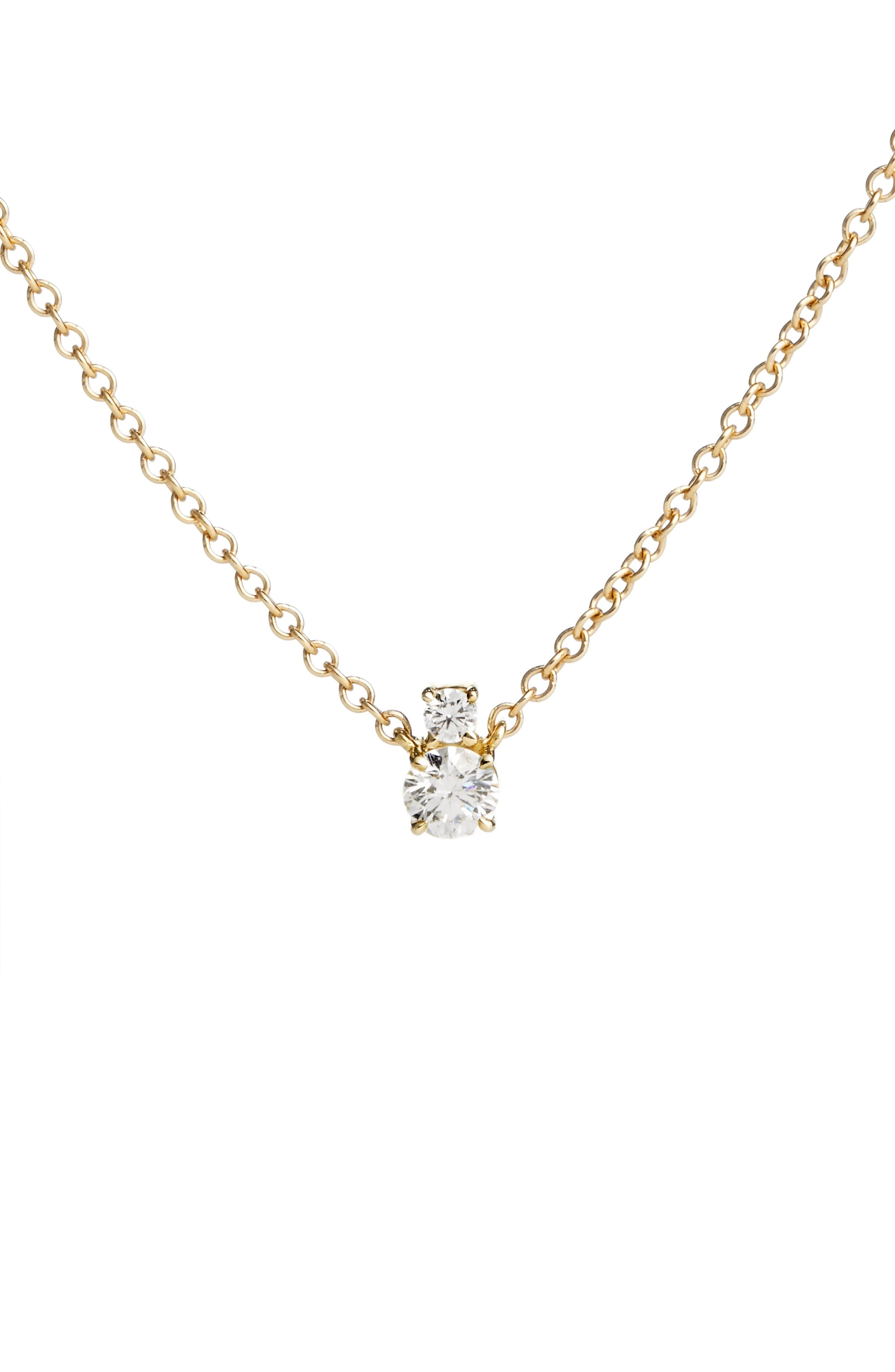 Prive Luxe 18K Gold & Diamond Solitaire Necklace,                         Main,                         color, 710