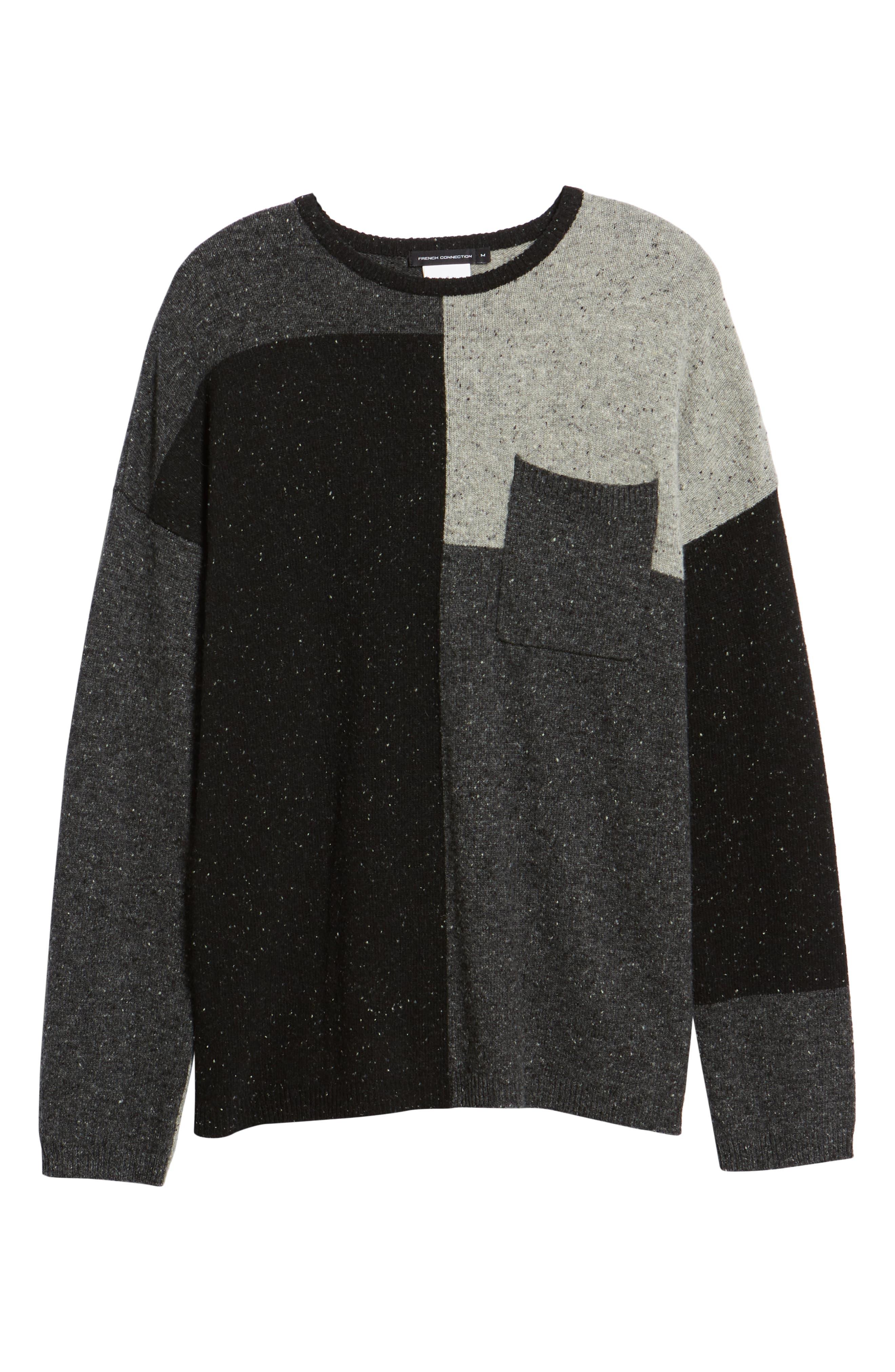 Patchwork Donegal Wool Blend Sweater,                             Alternate thumbnail 6, color,                             LIGHT GREY MELANGE CHARCOAL