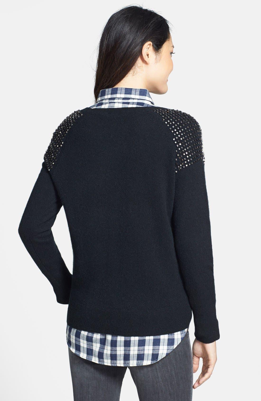 Embellished Shoulder Cashmere Sweater,                             Alternate thumbnail 3, color,                             001