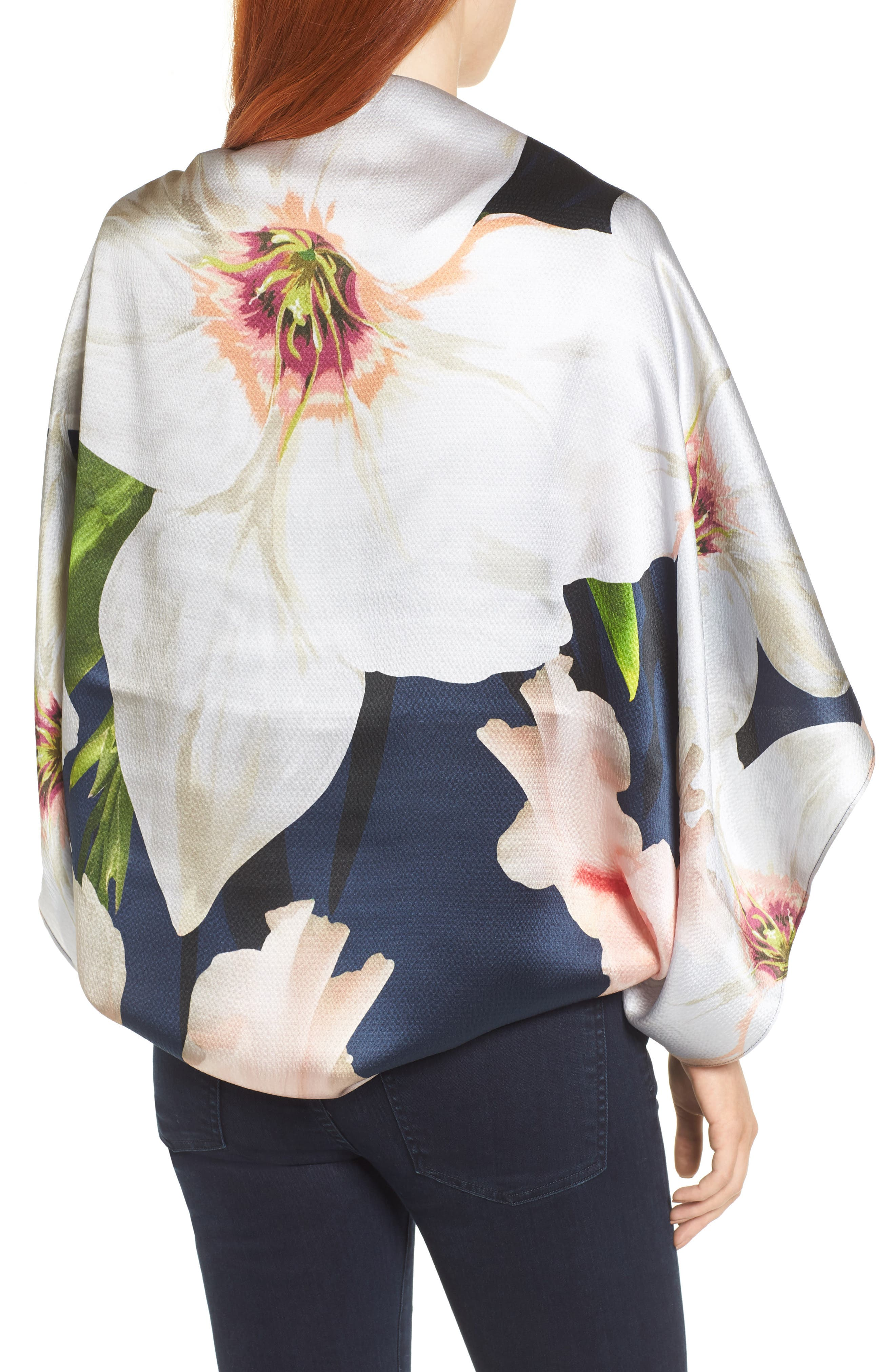 Chatsworth Bloom Silk Cape Scarf,                             Alternate thumbnail 4, color,
