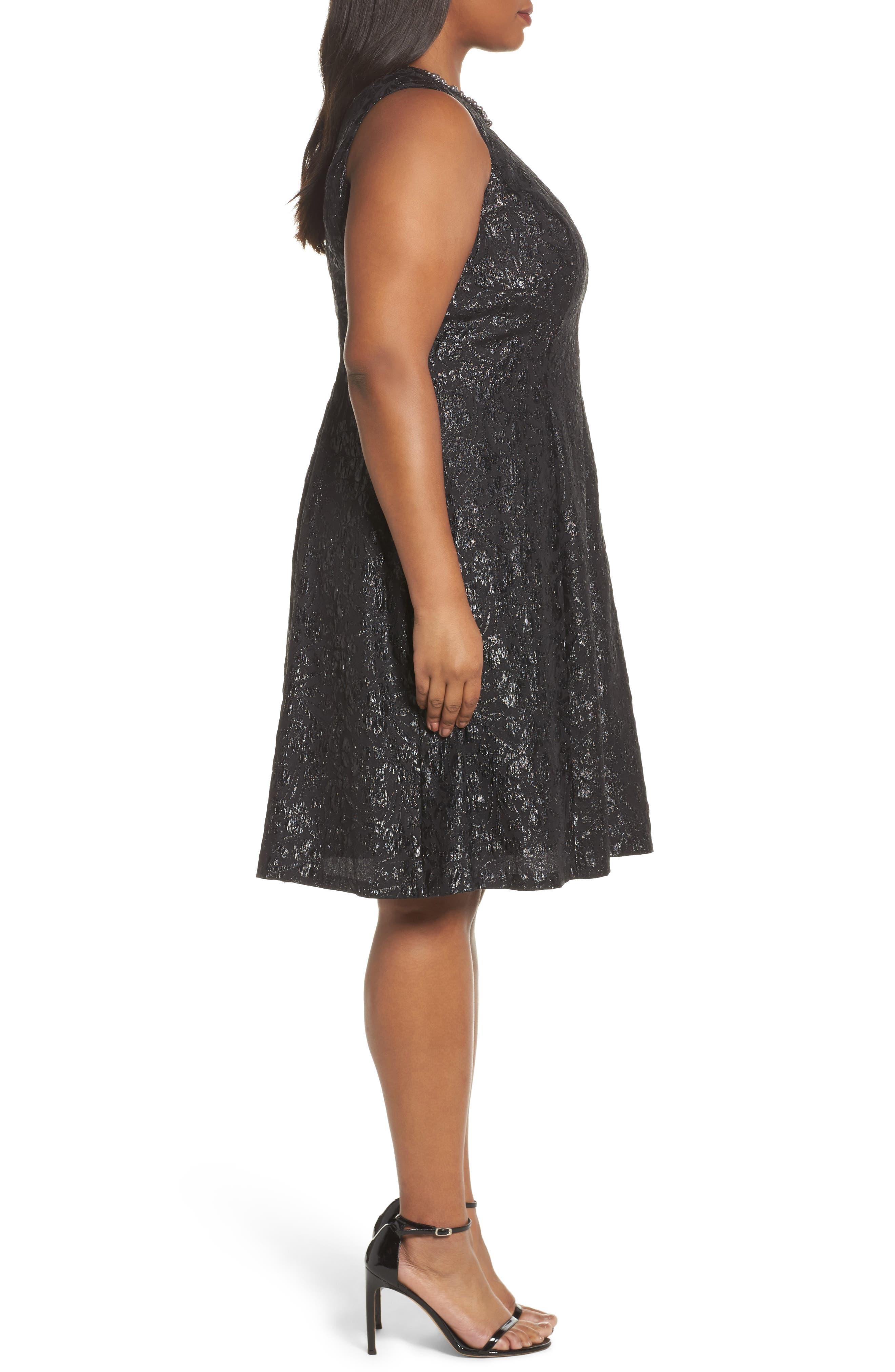 Beaded Neck Fit & Flare Dress,                             Alternate thumbnail 3, color,                             BLACK