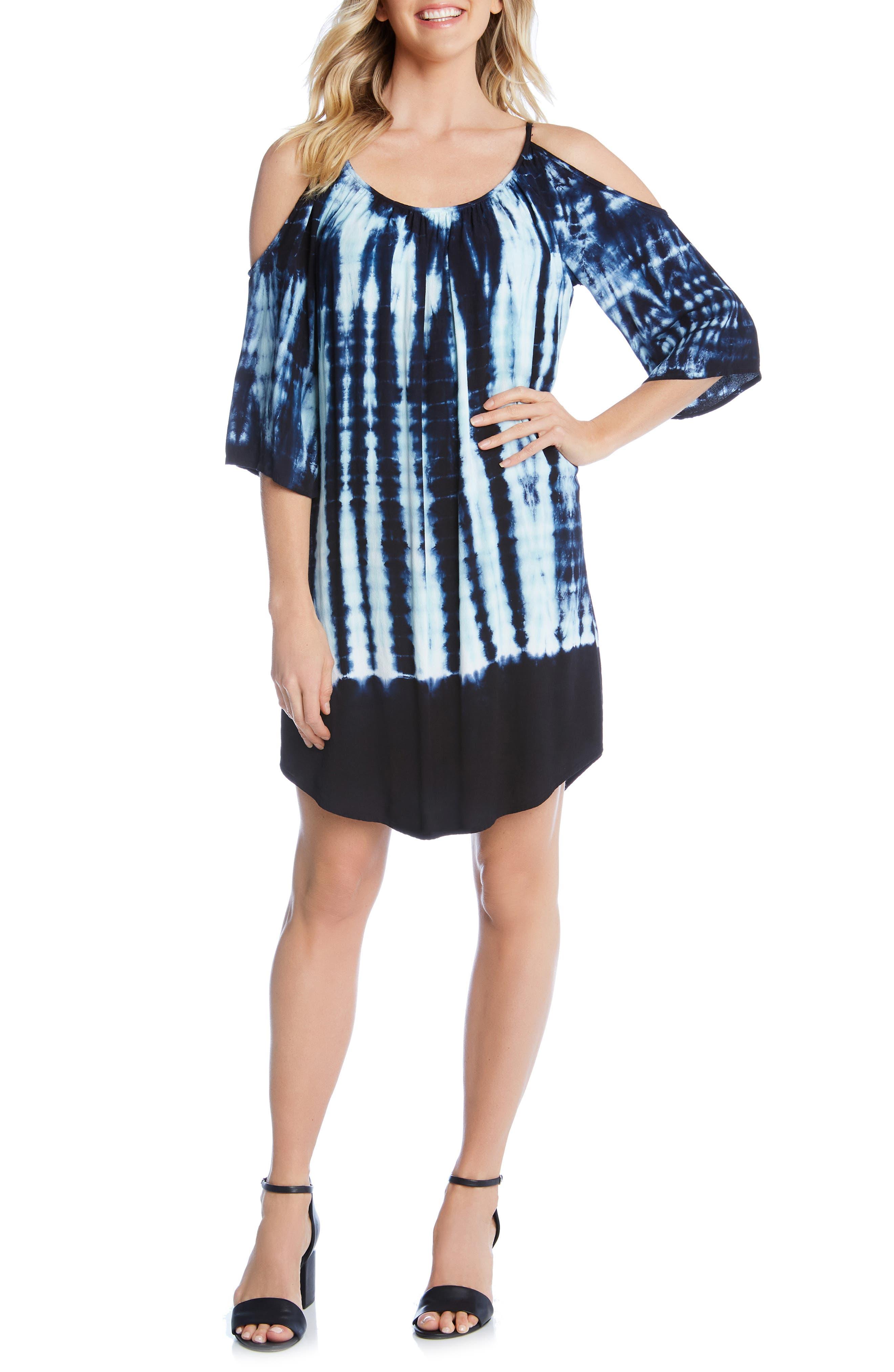 Karen Kane Cold Shoulder Shift Dress, Blue