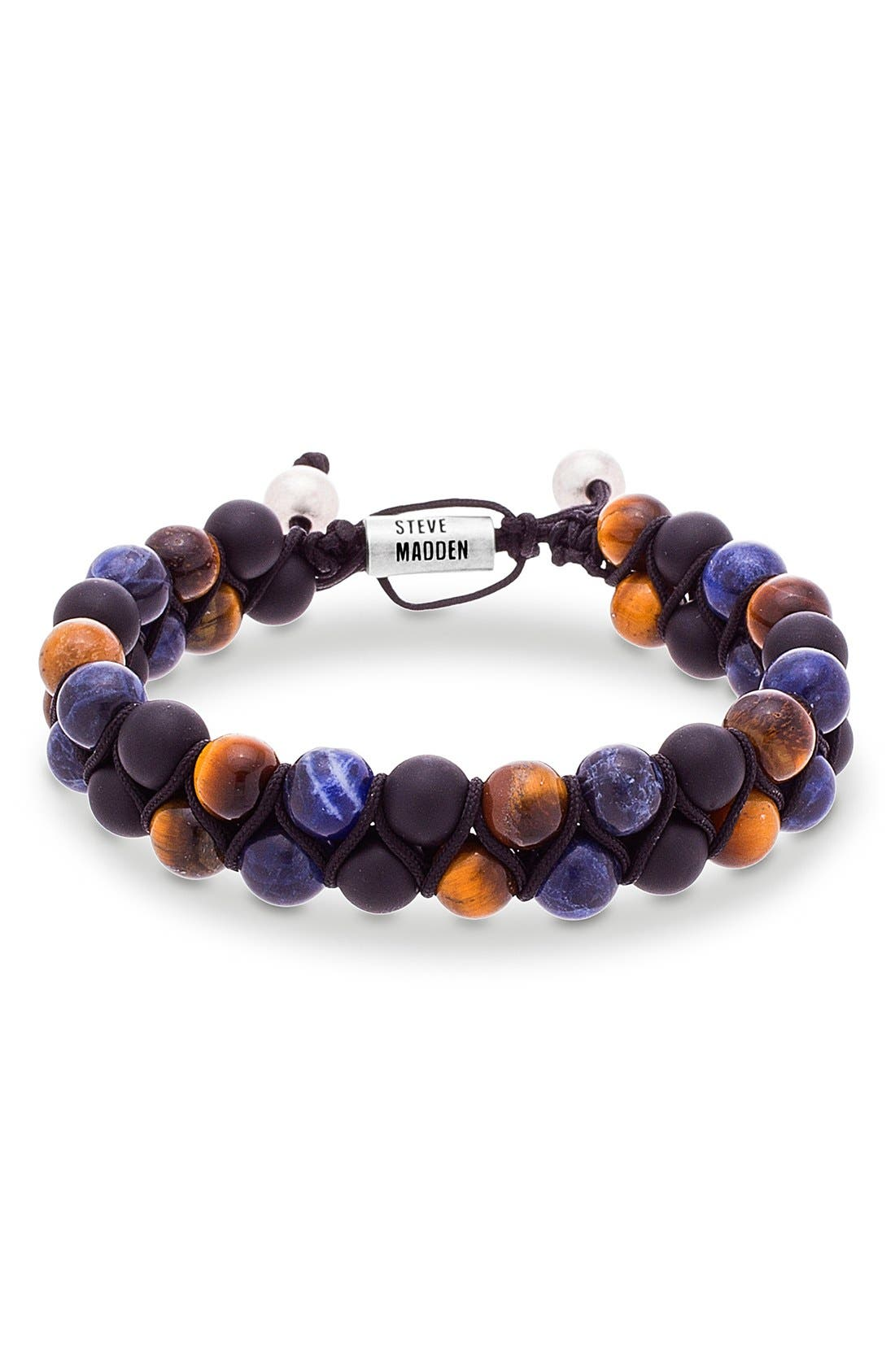 Tiger's Eye & Lapis Bracelet,                             Main thumbnail 1, color,                             BROWN/ BLUE/ BURNISHED SILVER