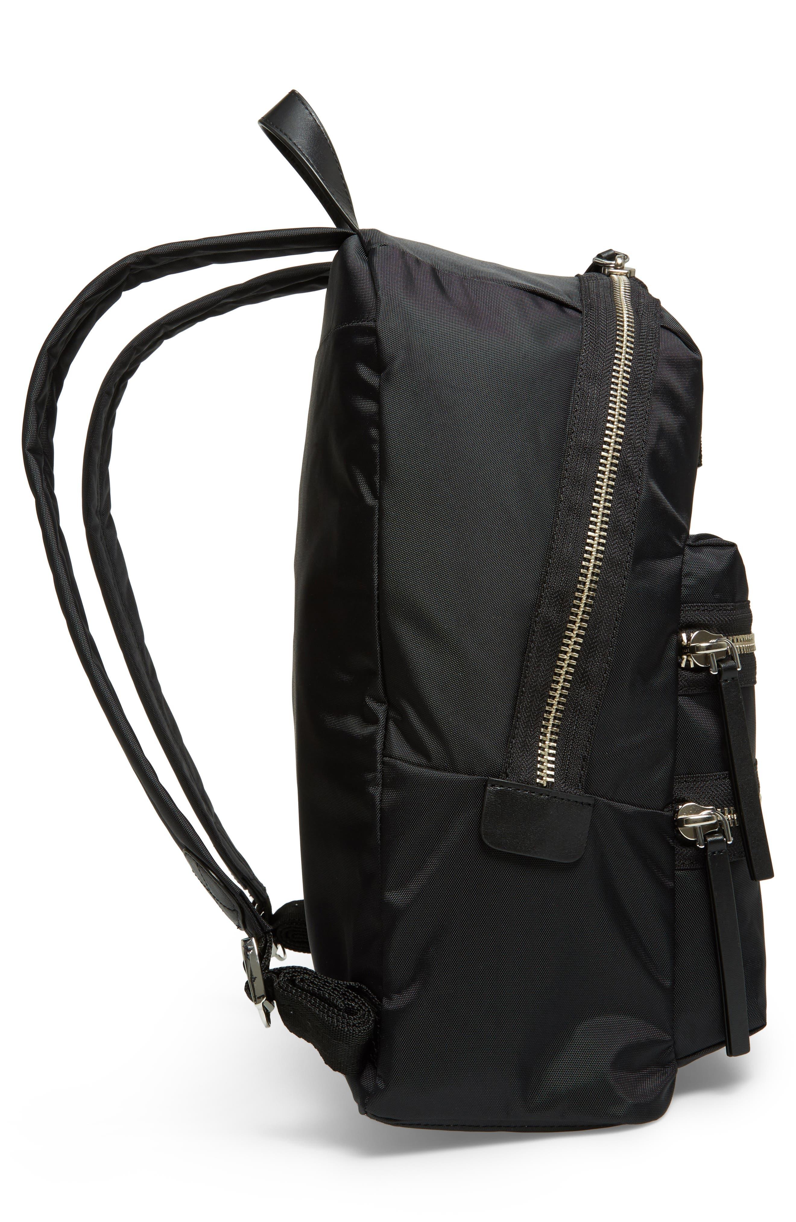 Biker Nylon Backpack,                             Alternate thumbnail 5, color,                             BLACK
