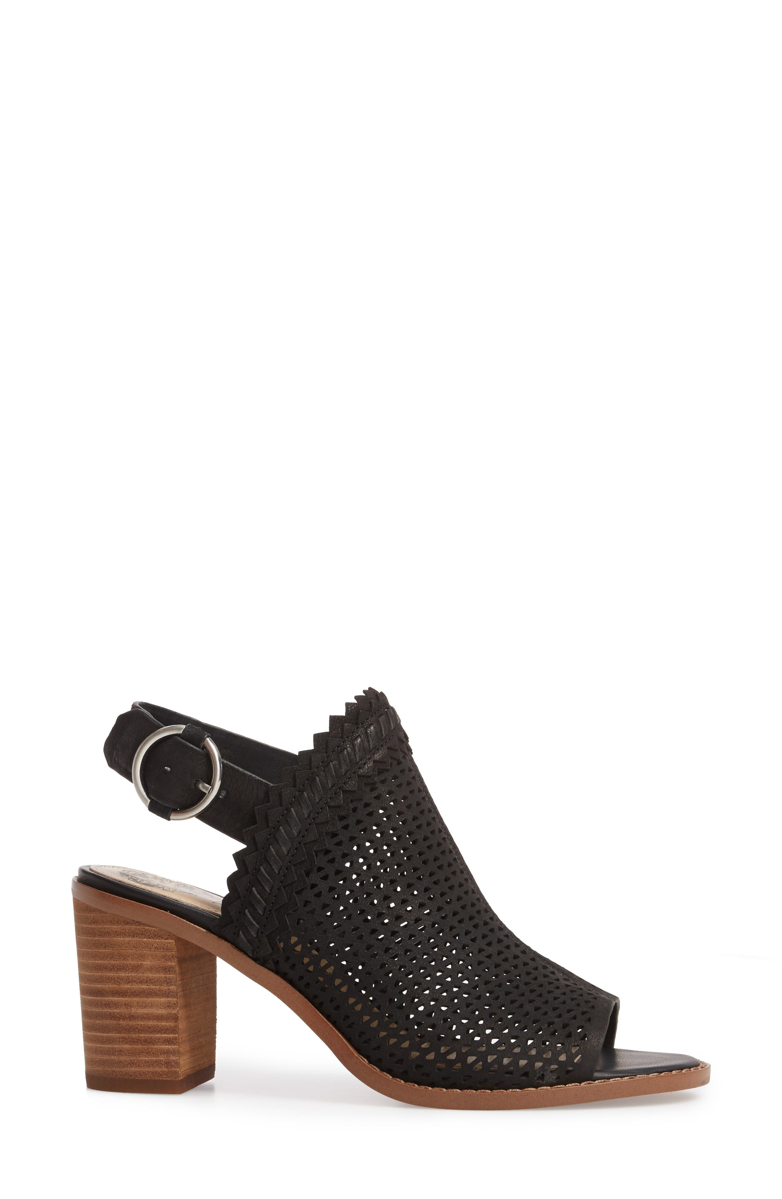 Tricinda Block Heel Sandal,                             Alternate thumbnail 3, color,                             BLACK LEATHER