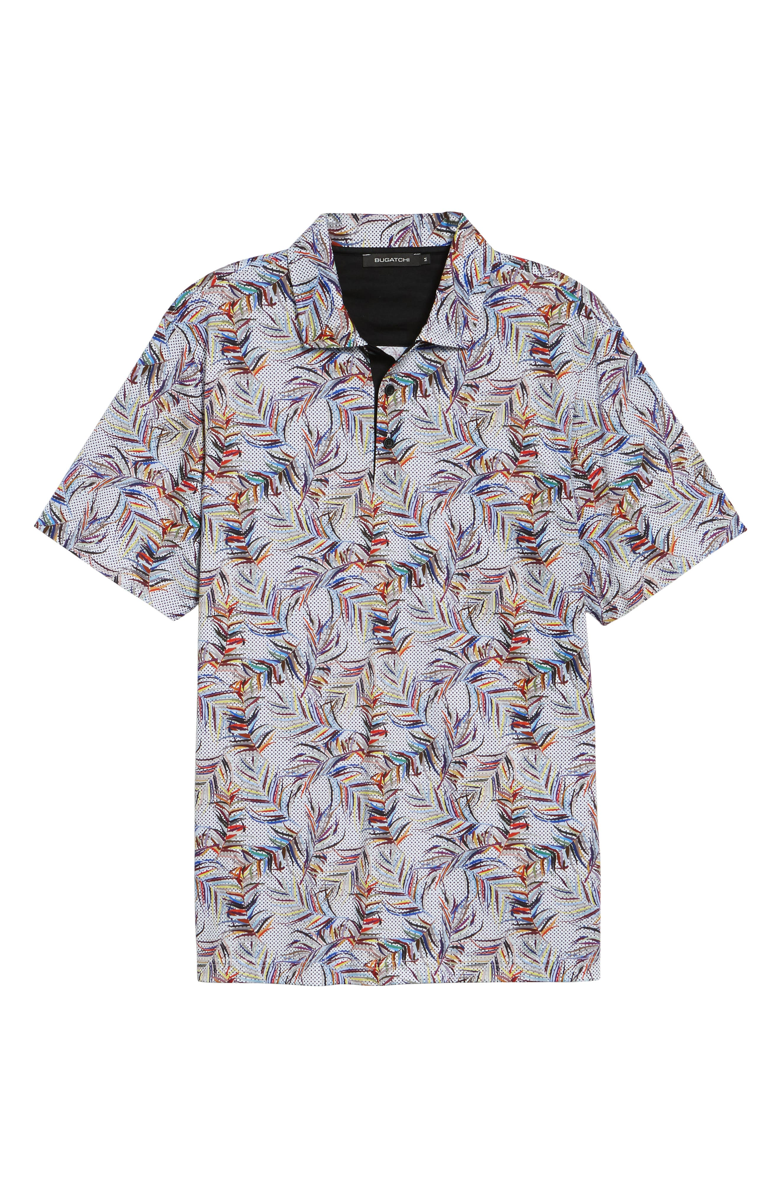 BUGATCHI,                             Multicolor Frond Print Polo,                             Alternate thumbnail 6, color,                             CANDY