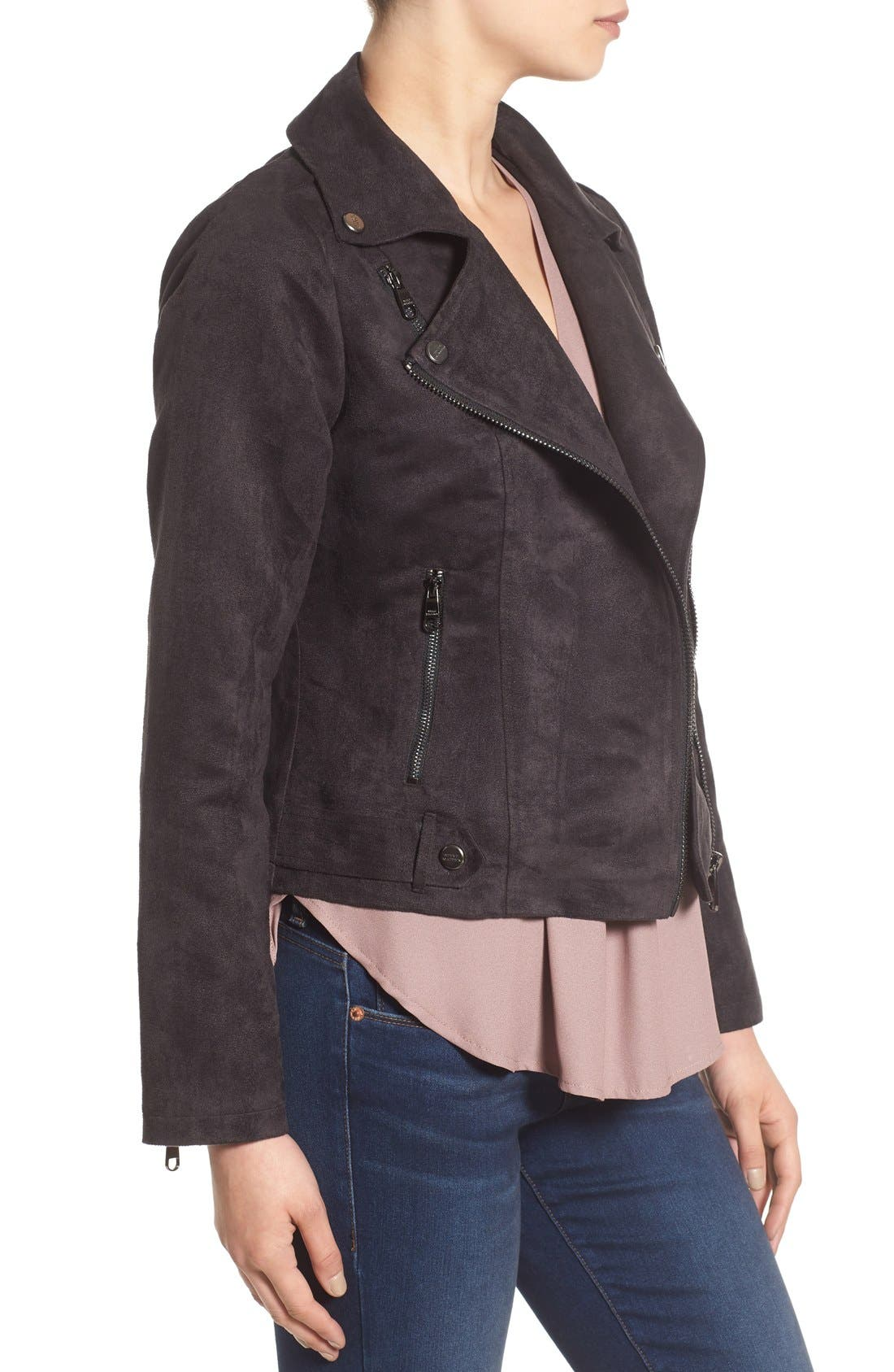 Faux Suede Moto Jacket,                             Alternate thumbnail 3, color,                             001