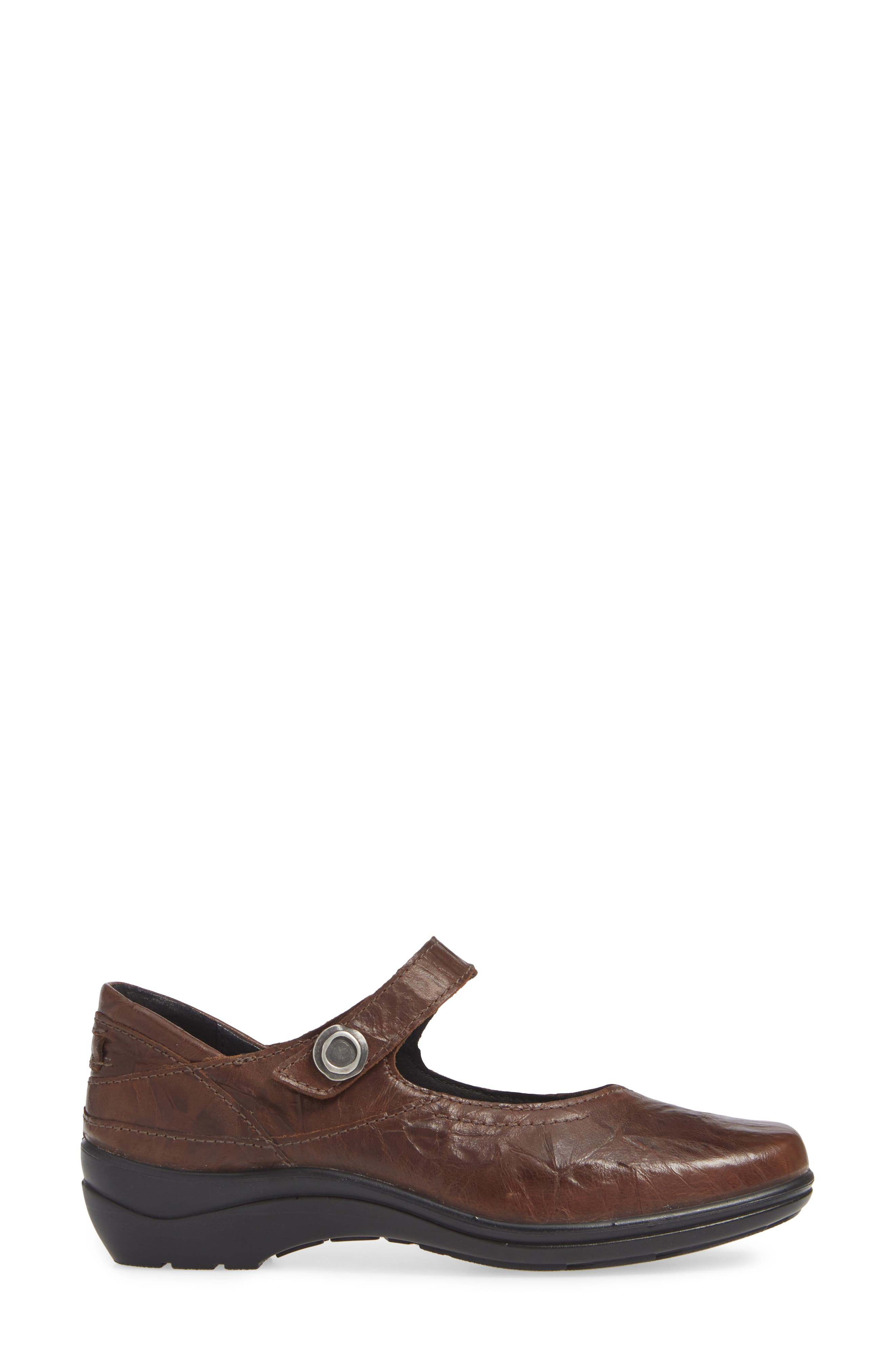 Cassie 50 Mary Jane Flat,                             Alternate thumbnail 3, color,                             BROWN LEATHER