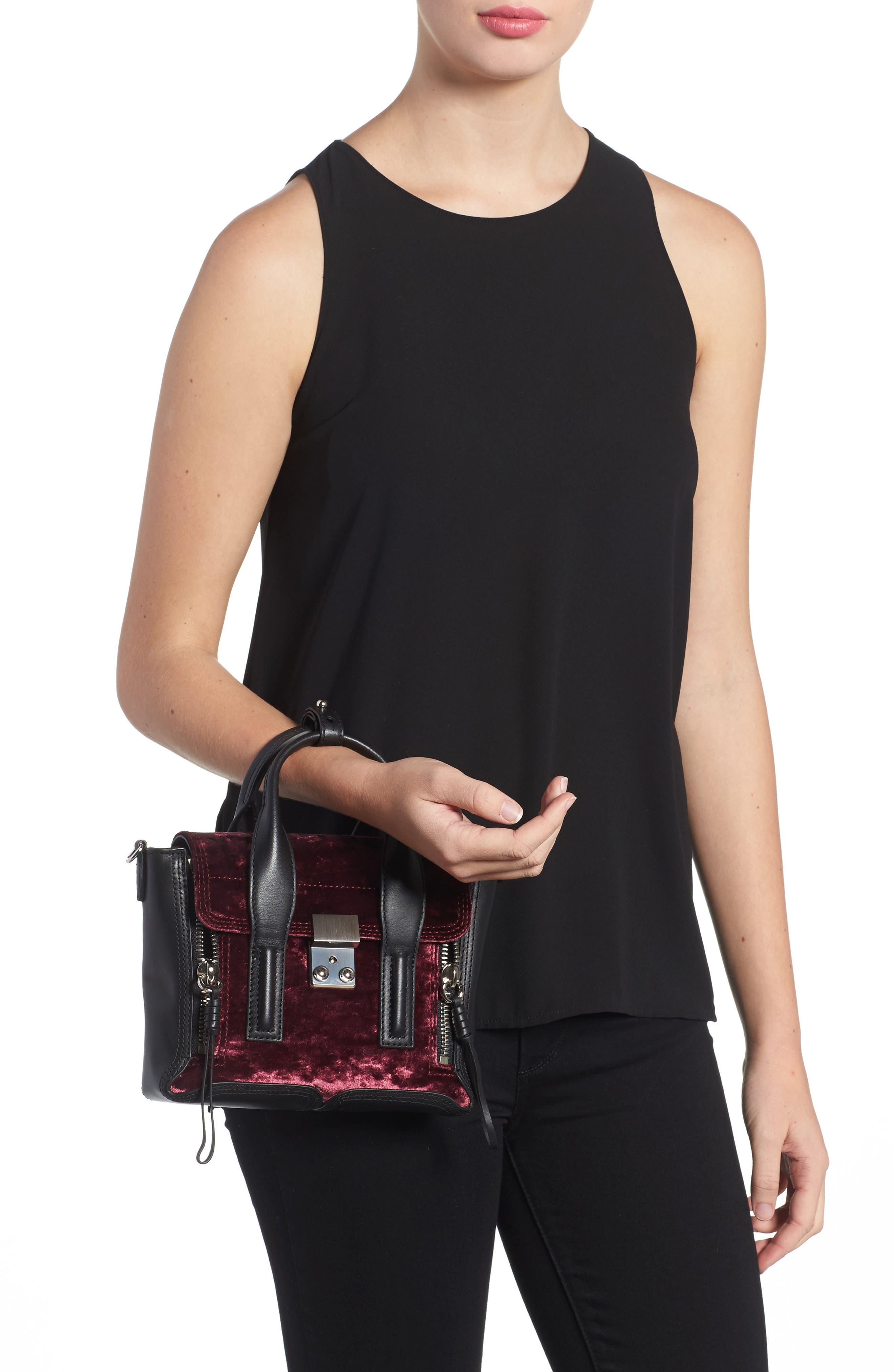 Mini Pashli Velvet & Leather Satchel,                             Alternate thumbnail 2, color,                             670