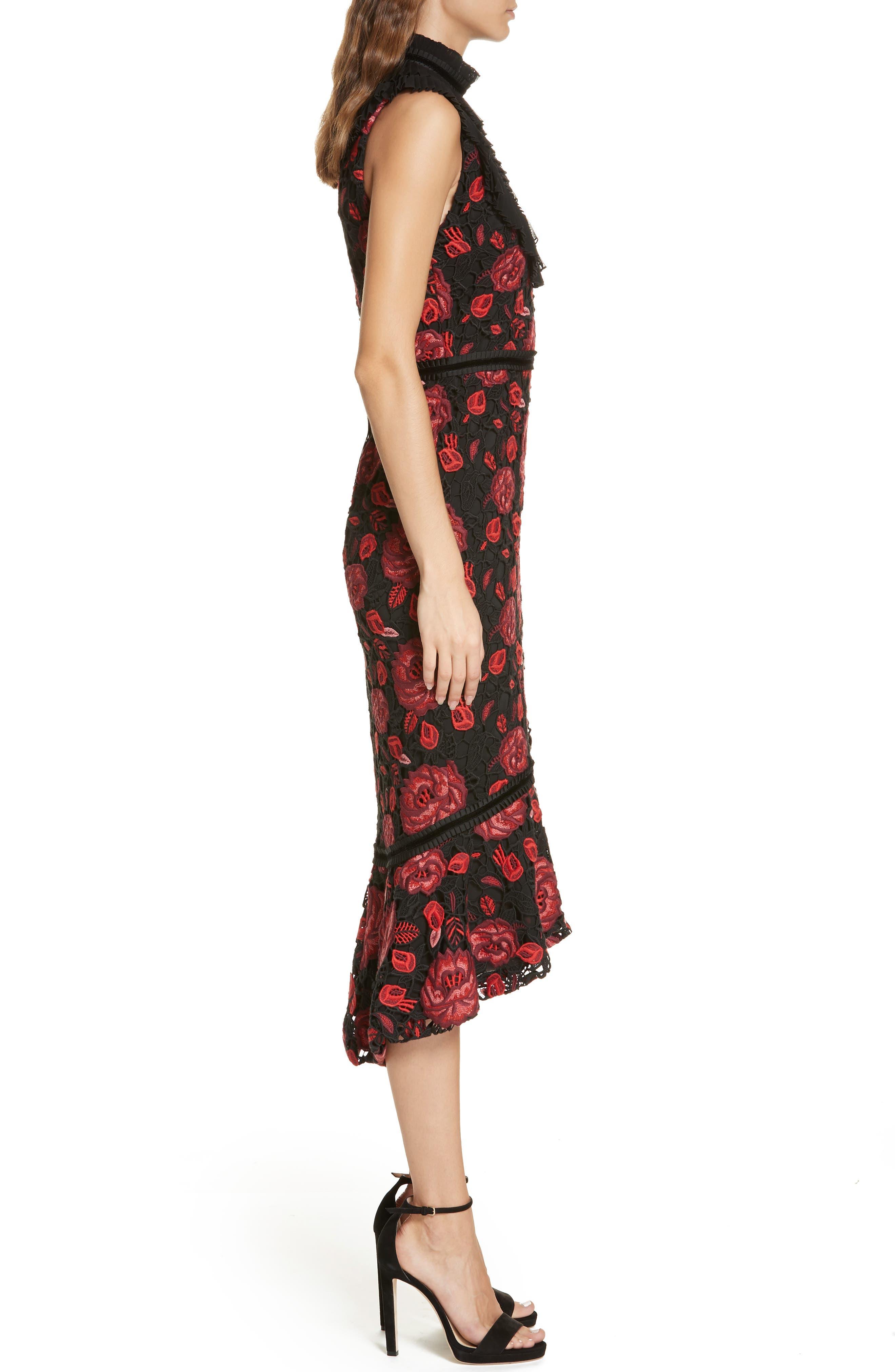 Evelina High Ruffle Neck Body-Con Midi Dress,                             Alternate thumbnail 3, color,                             930