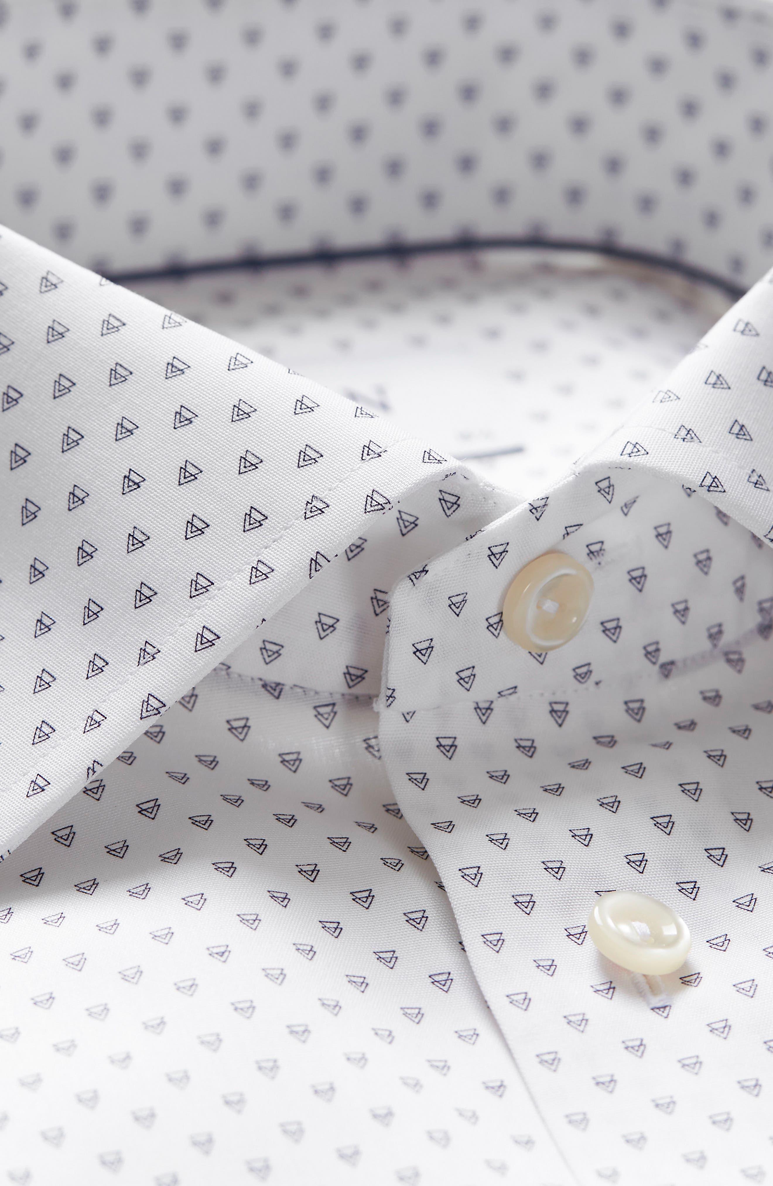 Slim Fit Geometric Dress Shirt,                             Alternate thumbnail 3, color,                             100