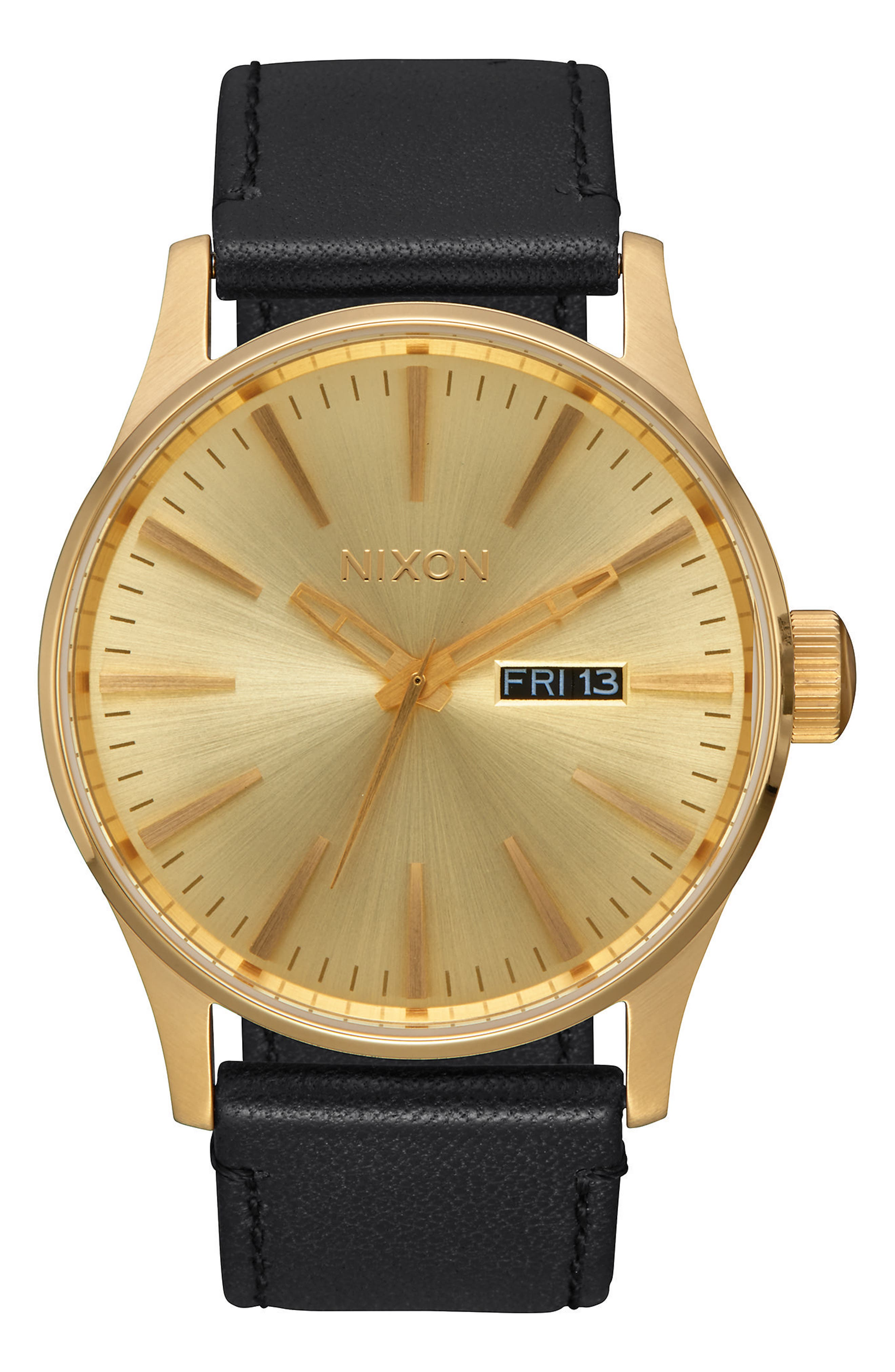 The Sentry Leather Strap Watch, 42mm,                             Main thumbnail 1, color,                             BLACK/ GOLD