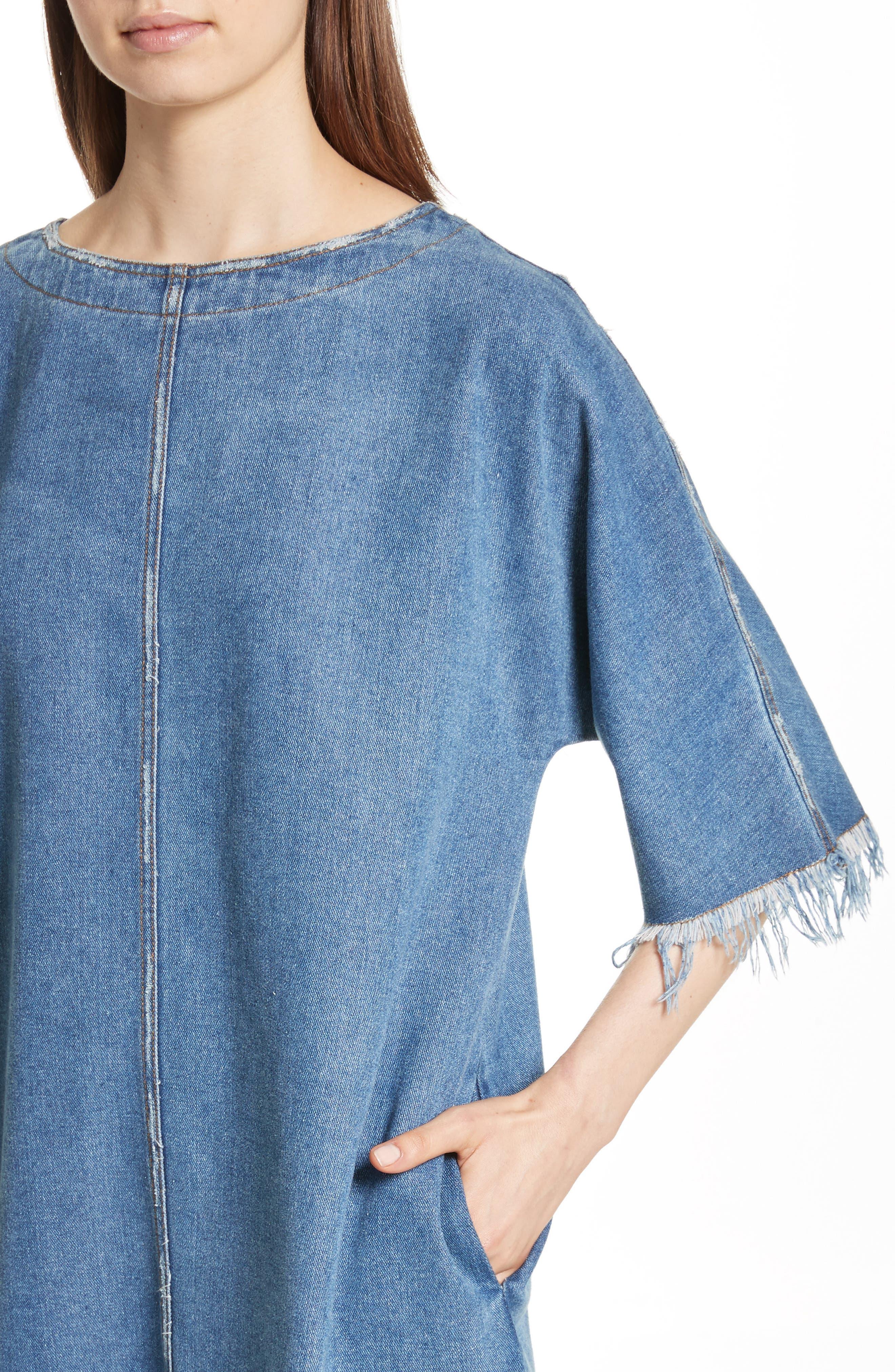 Distressed Denim Dress,                             Alternate thumbnail 4, color,                             400