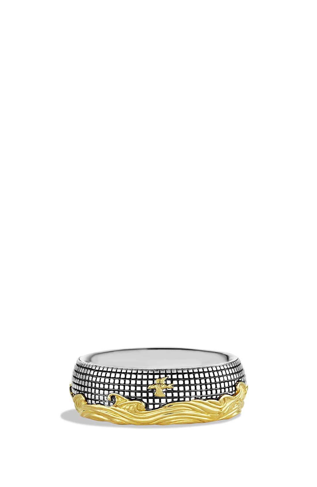 'Waves' Band Ring with Gold,                             Main thumbnail 1, color,                             TWO TONE