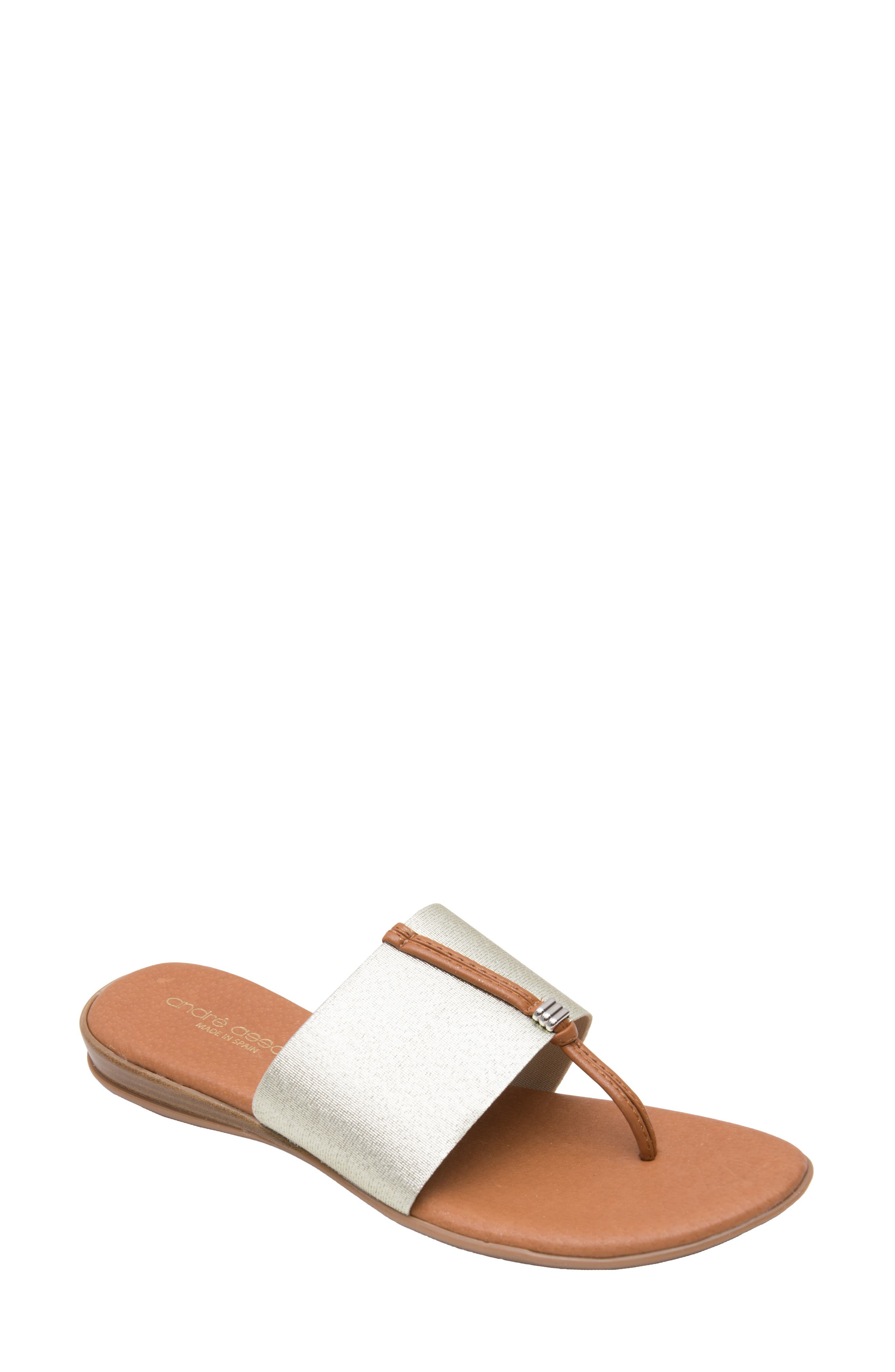 ANDRE ASSOUS Nice Sandal in Platino Fabric