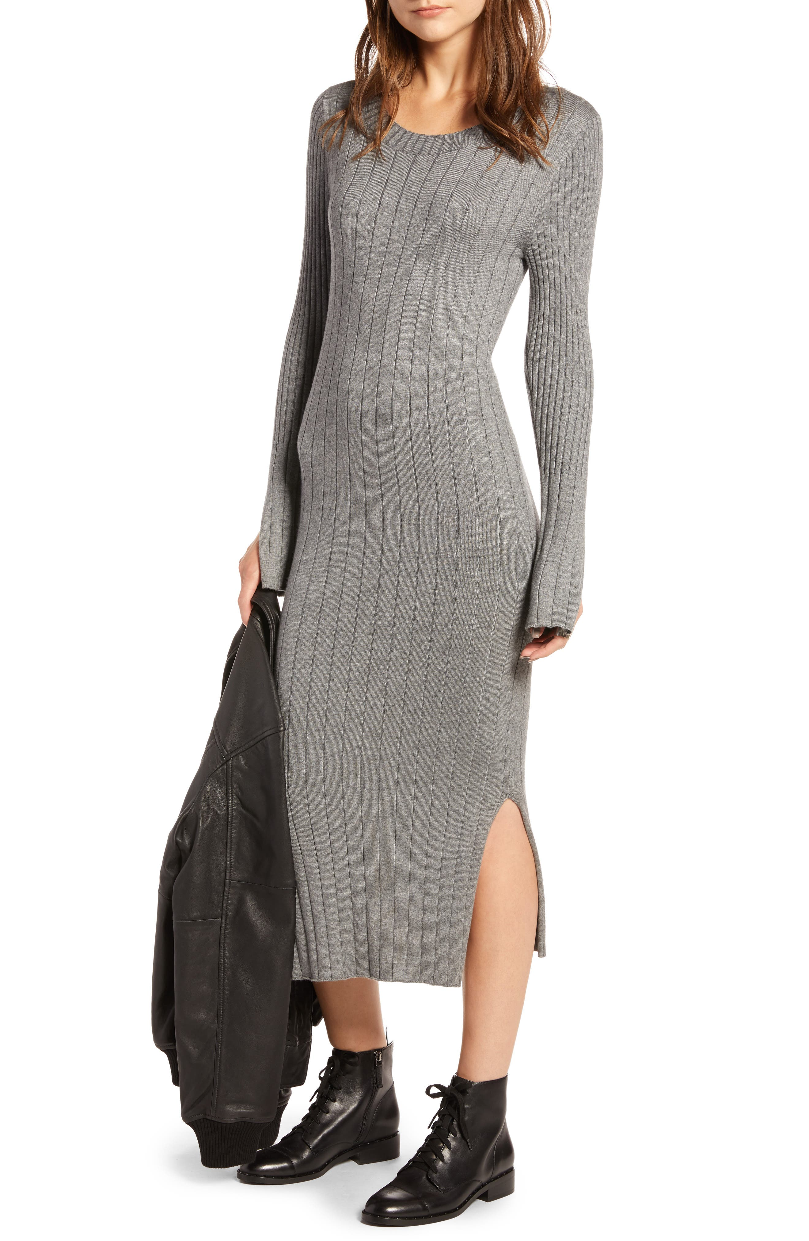 Ribbed Sweater Dress,                             Main thumbnail 1, color,                             GREY DARK HEATHER