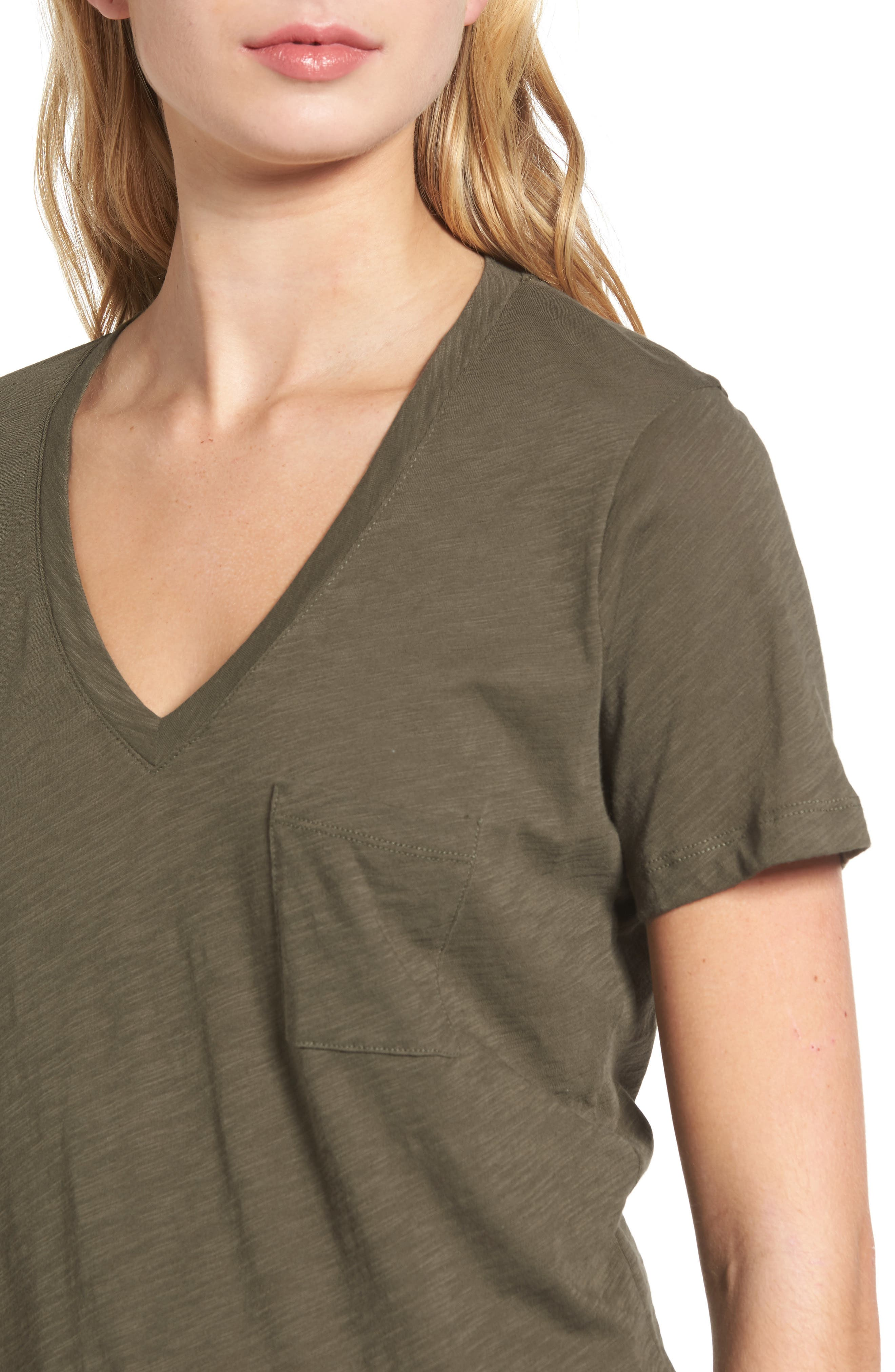 Whisper Cotton V-Neck Pocket Tee,                             Alternate thumbnail 131, color,