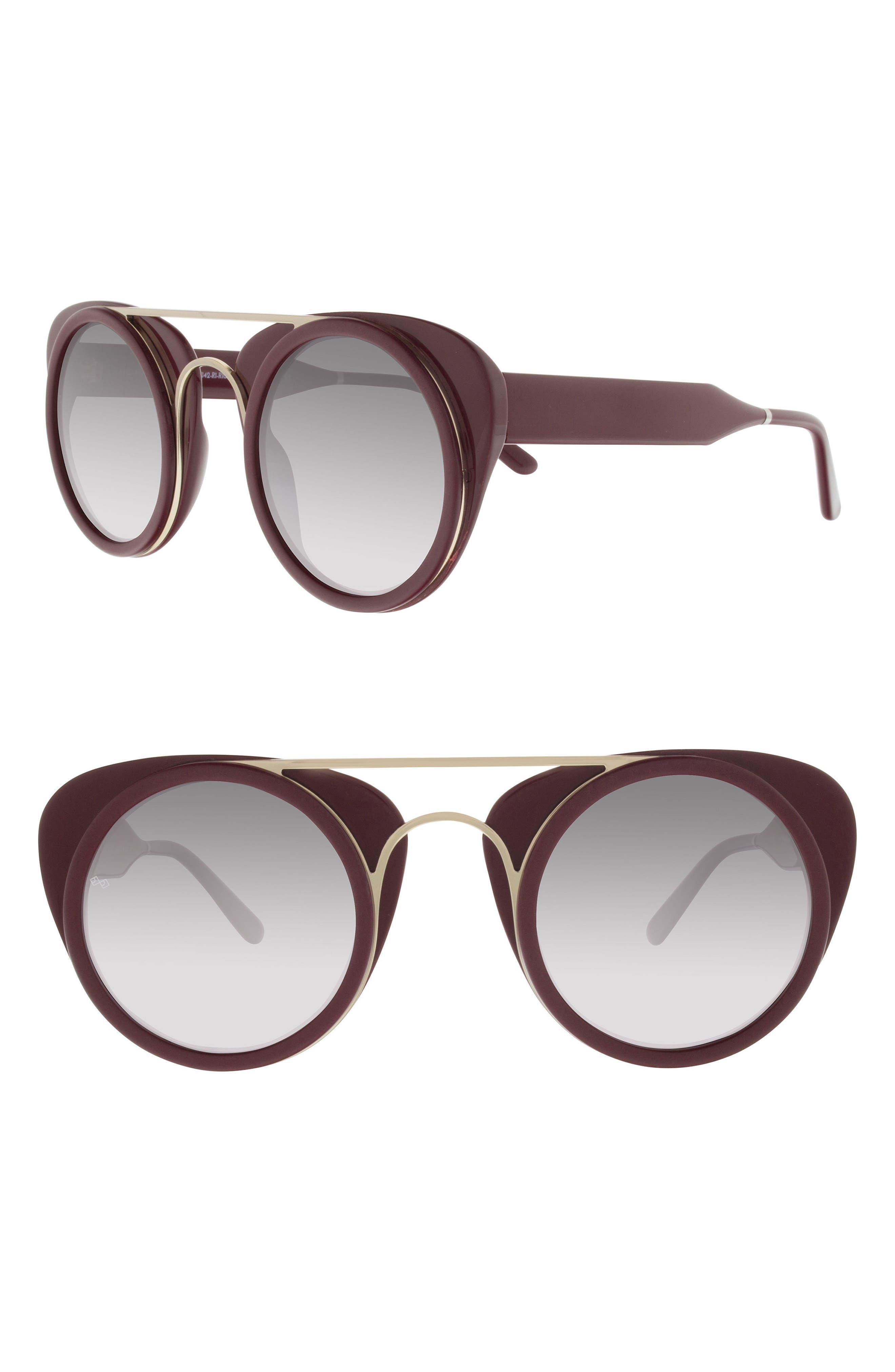 Soda Pop 3 47mm Round Sunglasses,                             Main thumbnail 1, color,                             BURGUNDY/ BURGUNDY/ GOLD