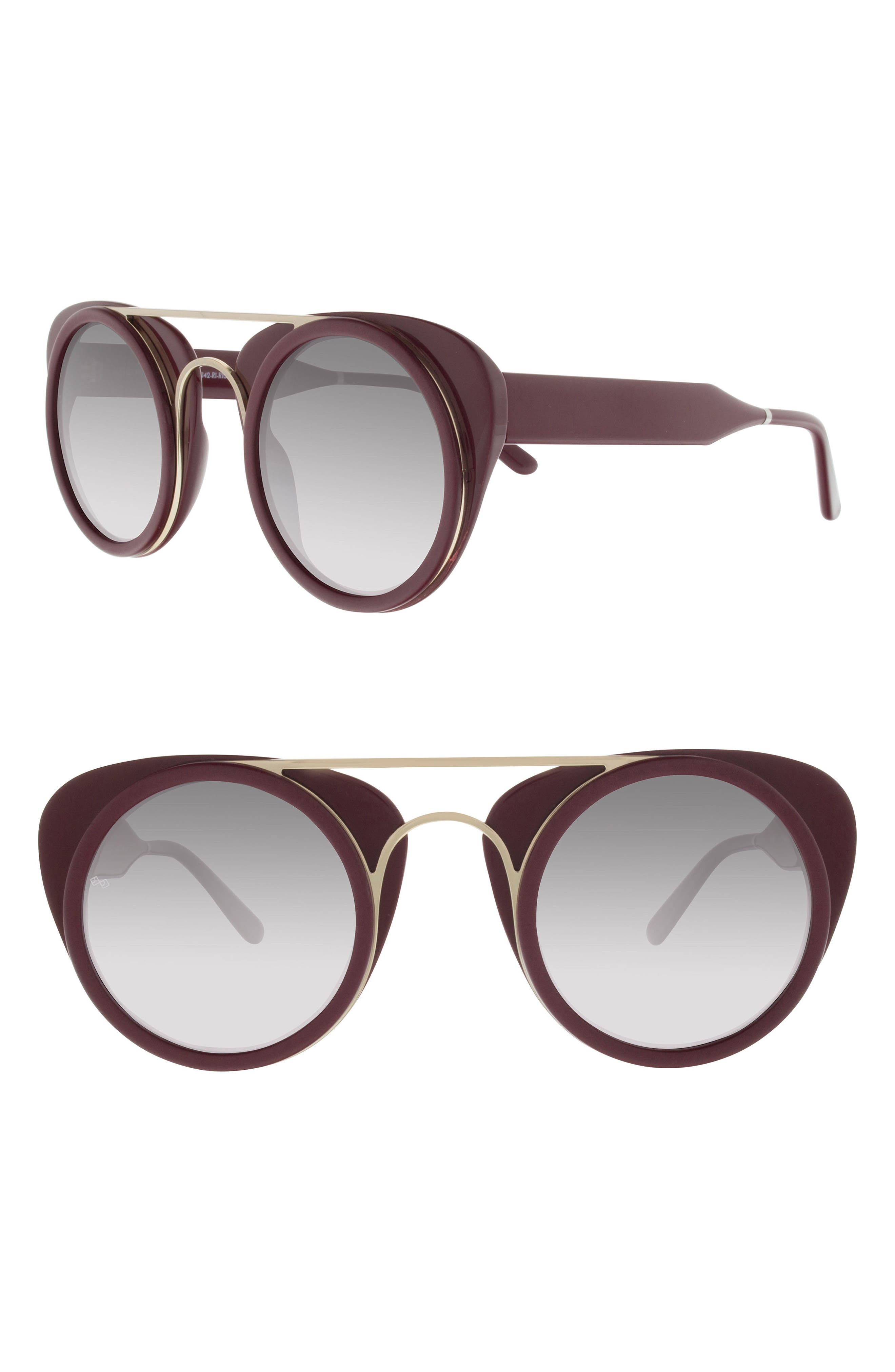 Soda Pop 3 47mm Round Sunglasses,                         Main,                         color, BURGUNDY/ BURGUNDY/ GOLD