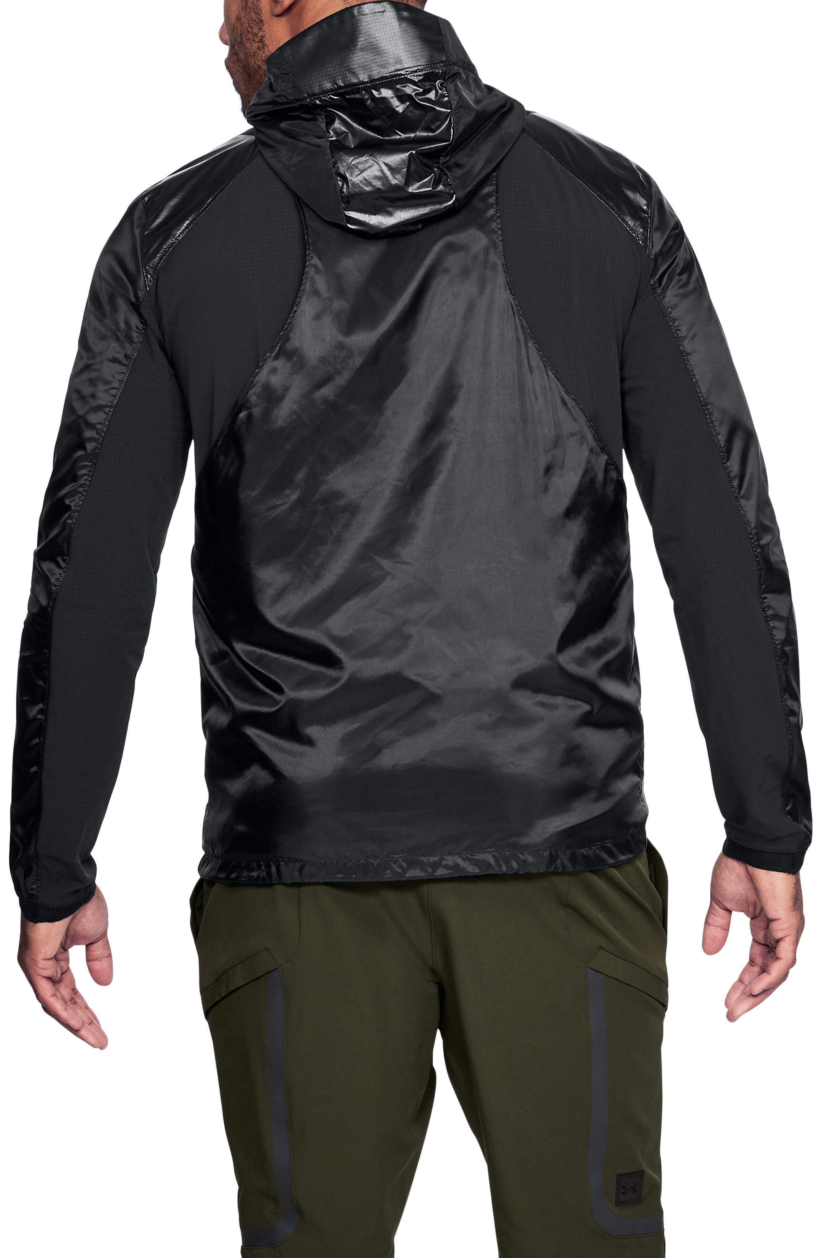 Perpetual Windproof & Water Resistant Hooded Jacket,                             Alternate thumbnail 2, color,                             BLACK/ METALLIC VICTORY GOLD