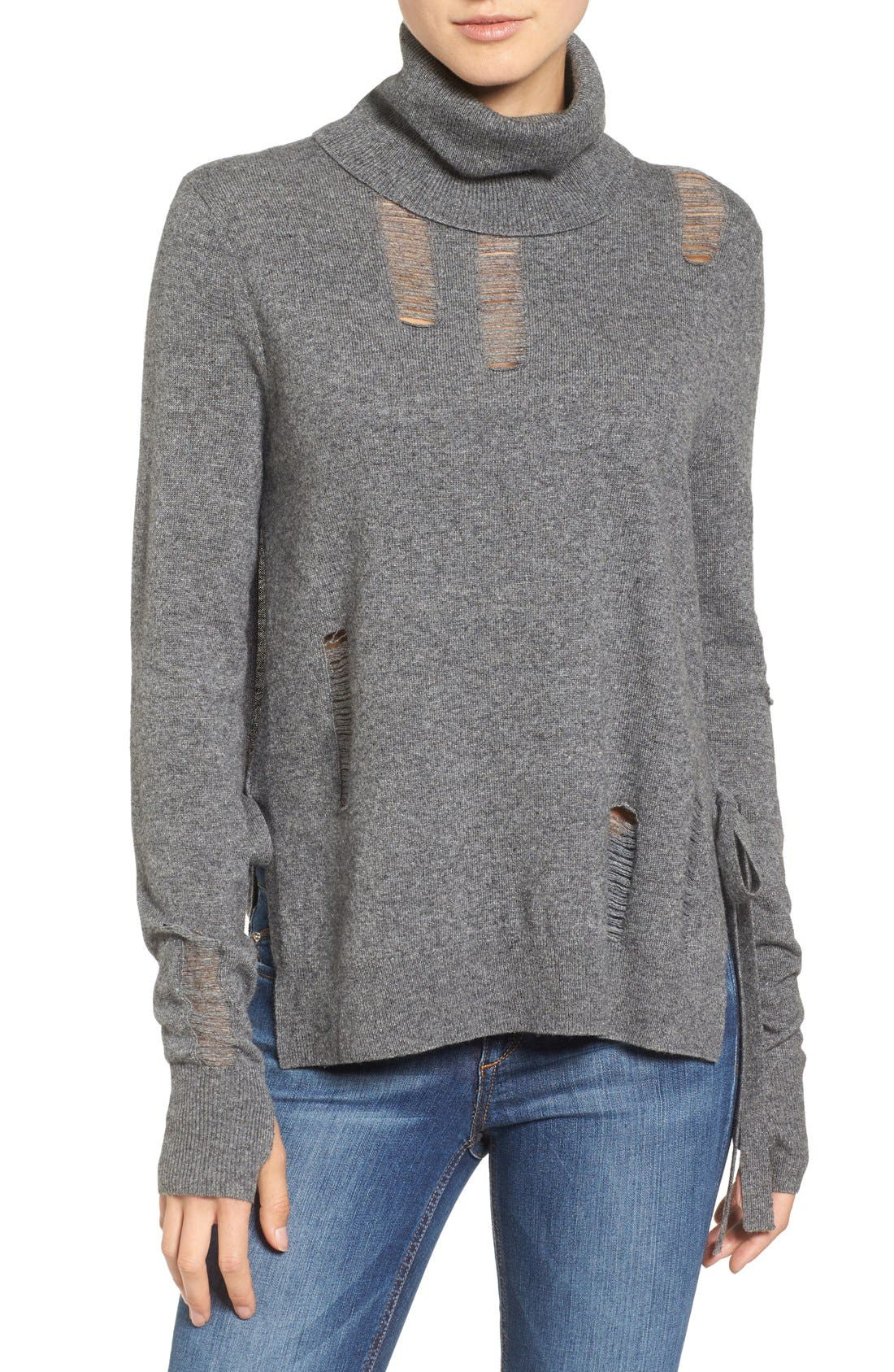 Distressed Turtleneck Sweater,                             Main thumbnail 2, color,