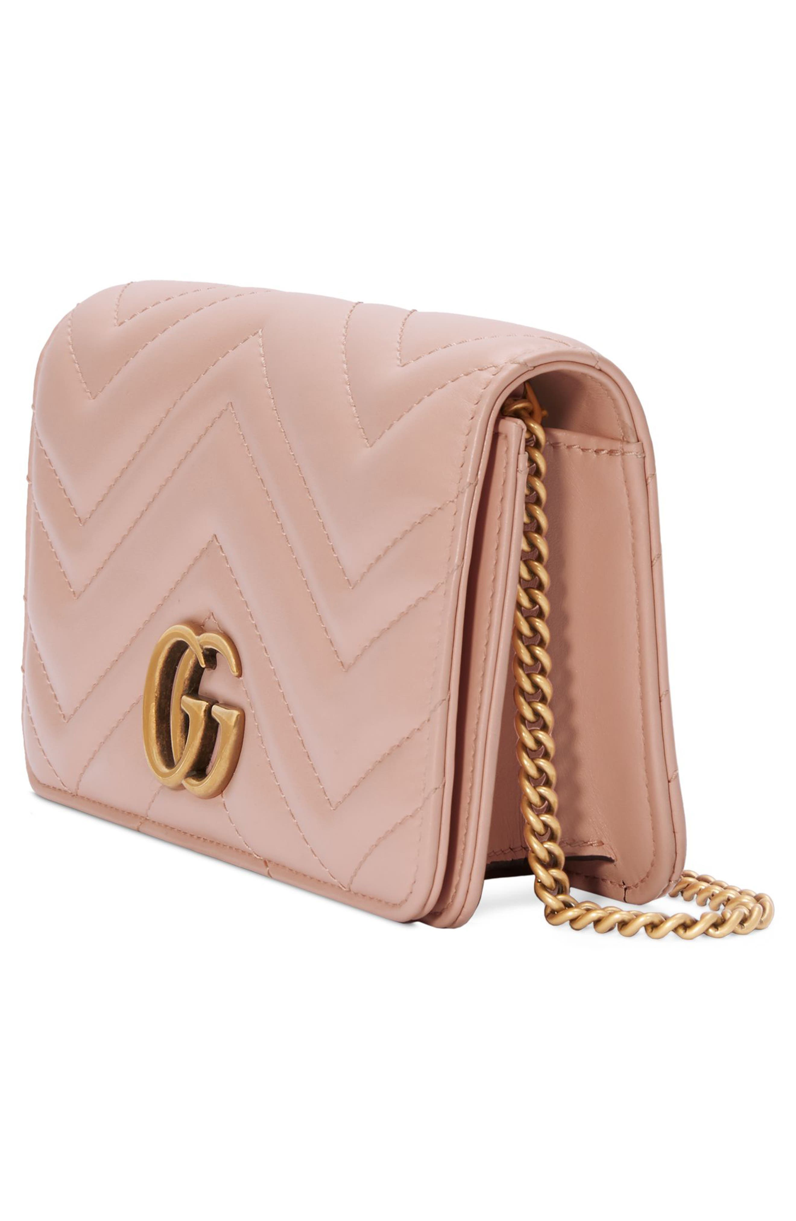 Marmont 2.0 Leather Shoulder Bag,                             Alternate thumbnail 4, color,                             PERFECT PINK