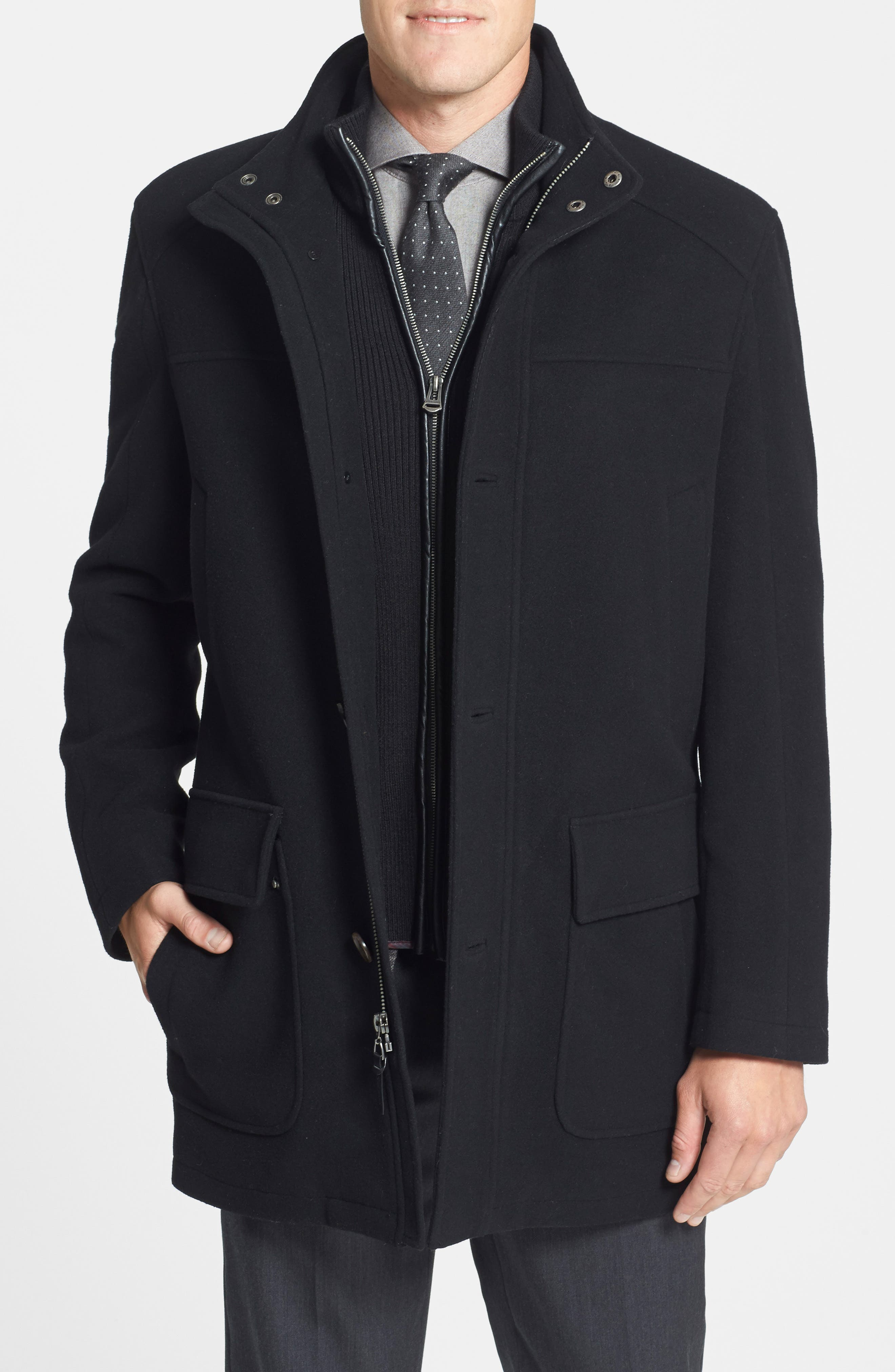 Wool Blend Topcoat with Inset Bib,                             Alternate thumbnail 22, color,