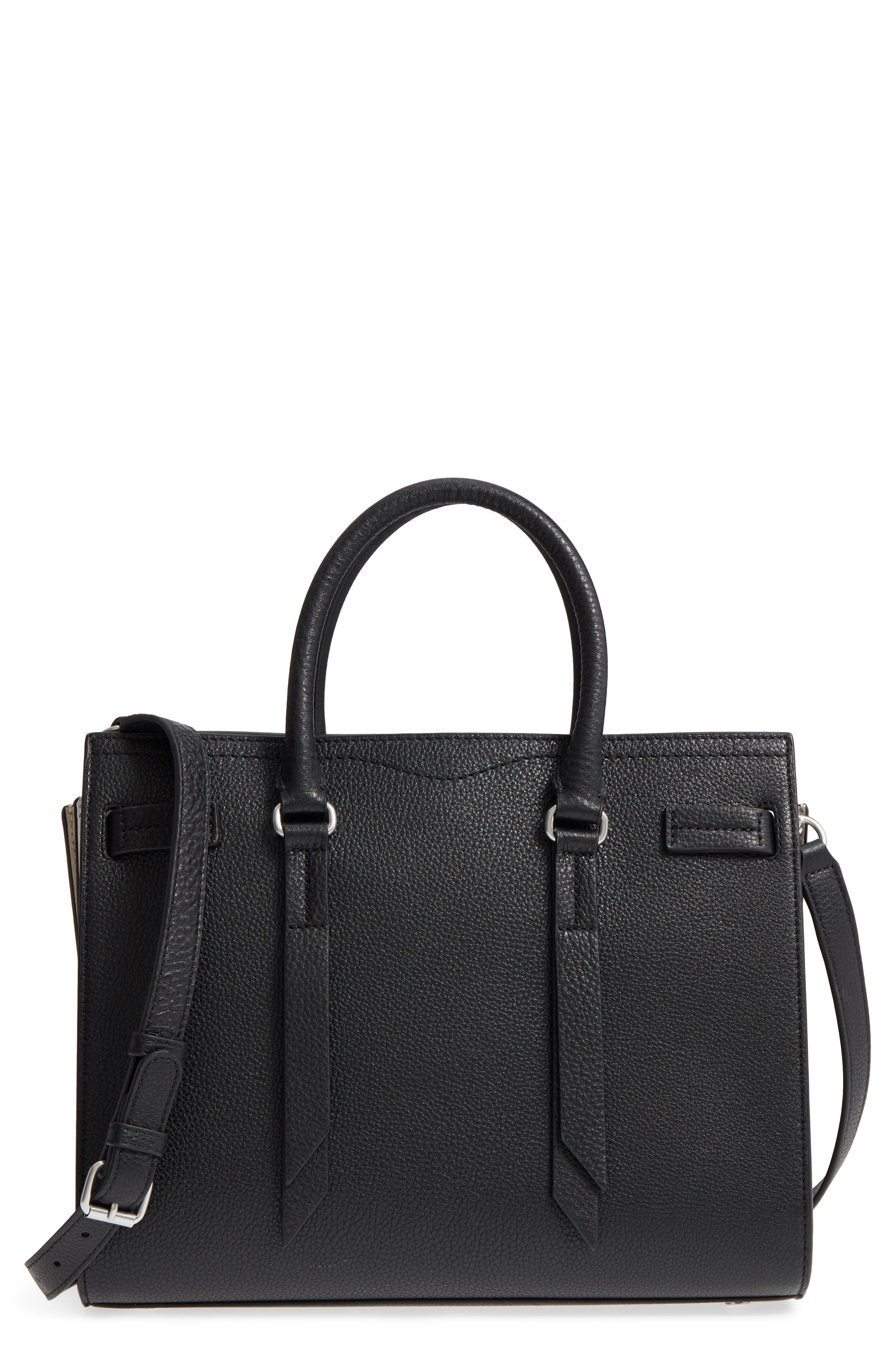 Sherry Calfskin Leather Satchel,                         Main,                         color, 002