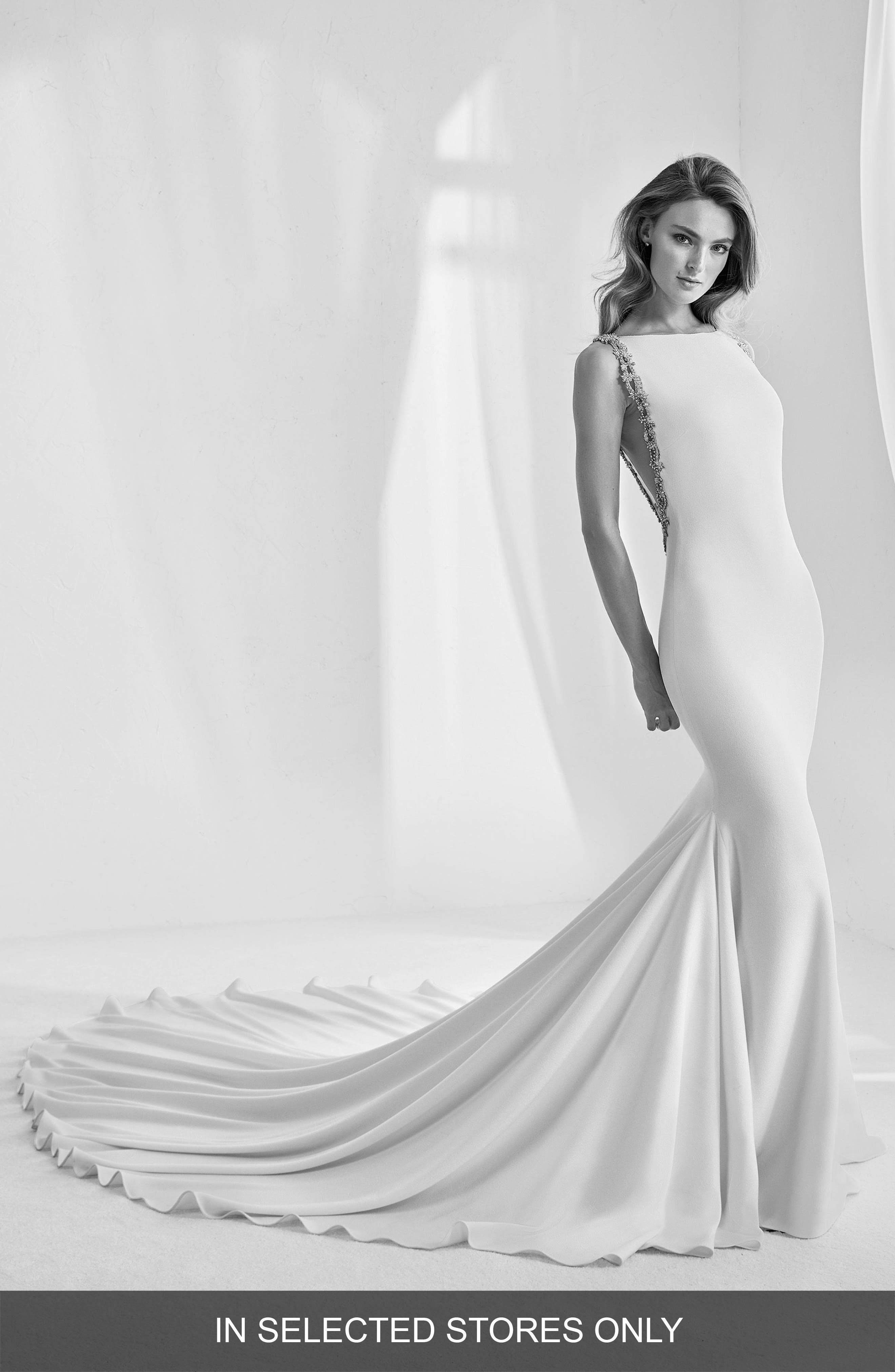 Rambla Embellished Open Back Mermaid Gown,                             Main thumbnail 1, color,                             OFF WHITE/CRYSTAL
