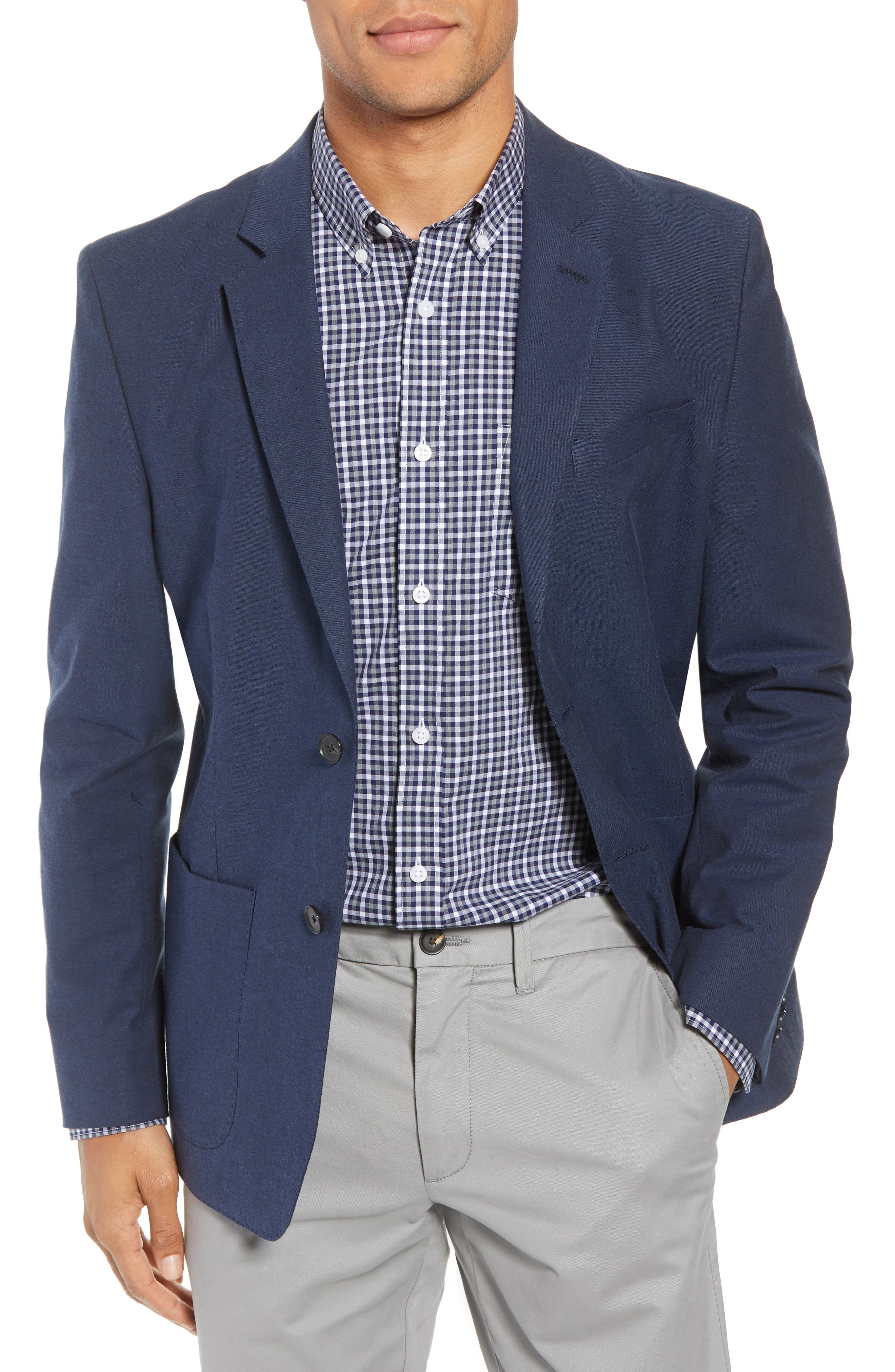 Washed Stretch Cotton Blazer,                         Main,                         color, 410