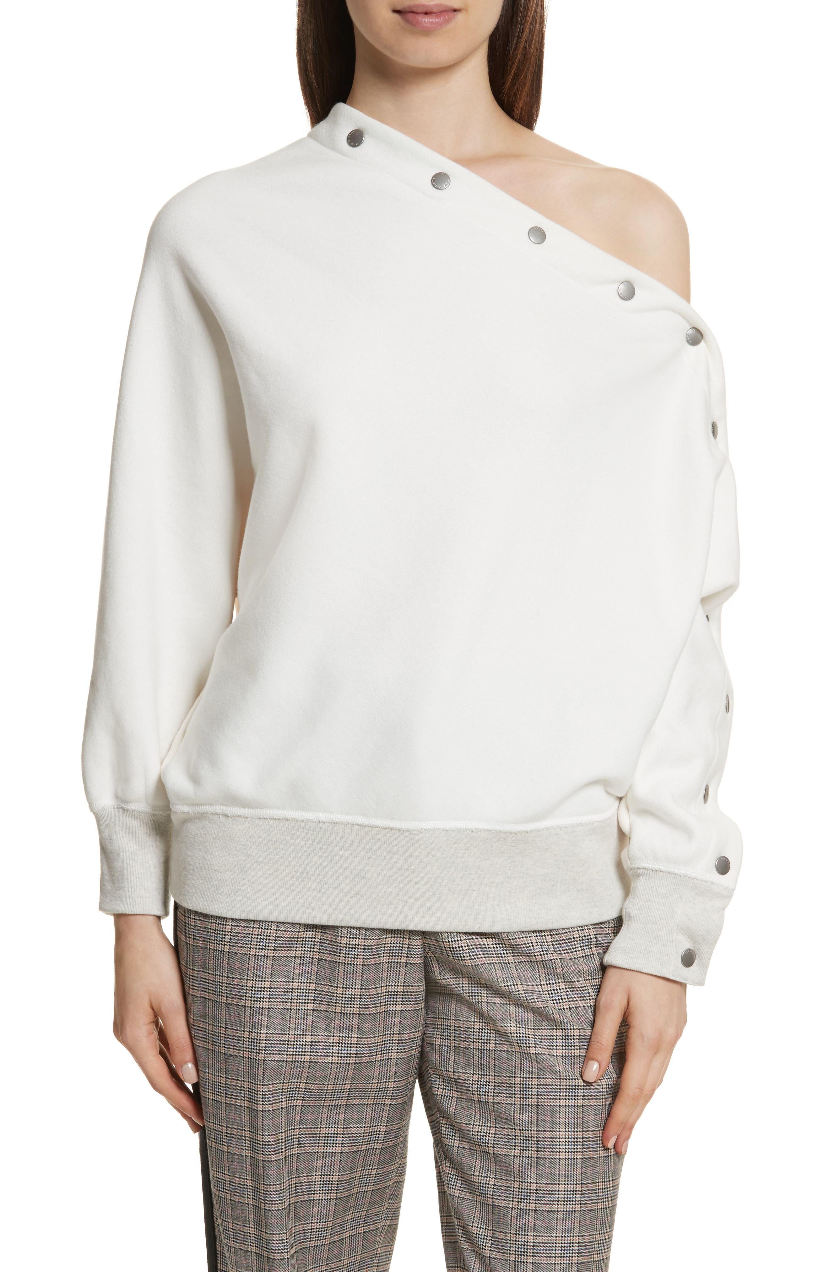 Kate Side Snap Cold Shoulder Sweatshirt,                             Main thumbnail 2, color,