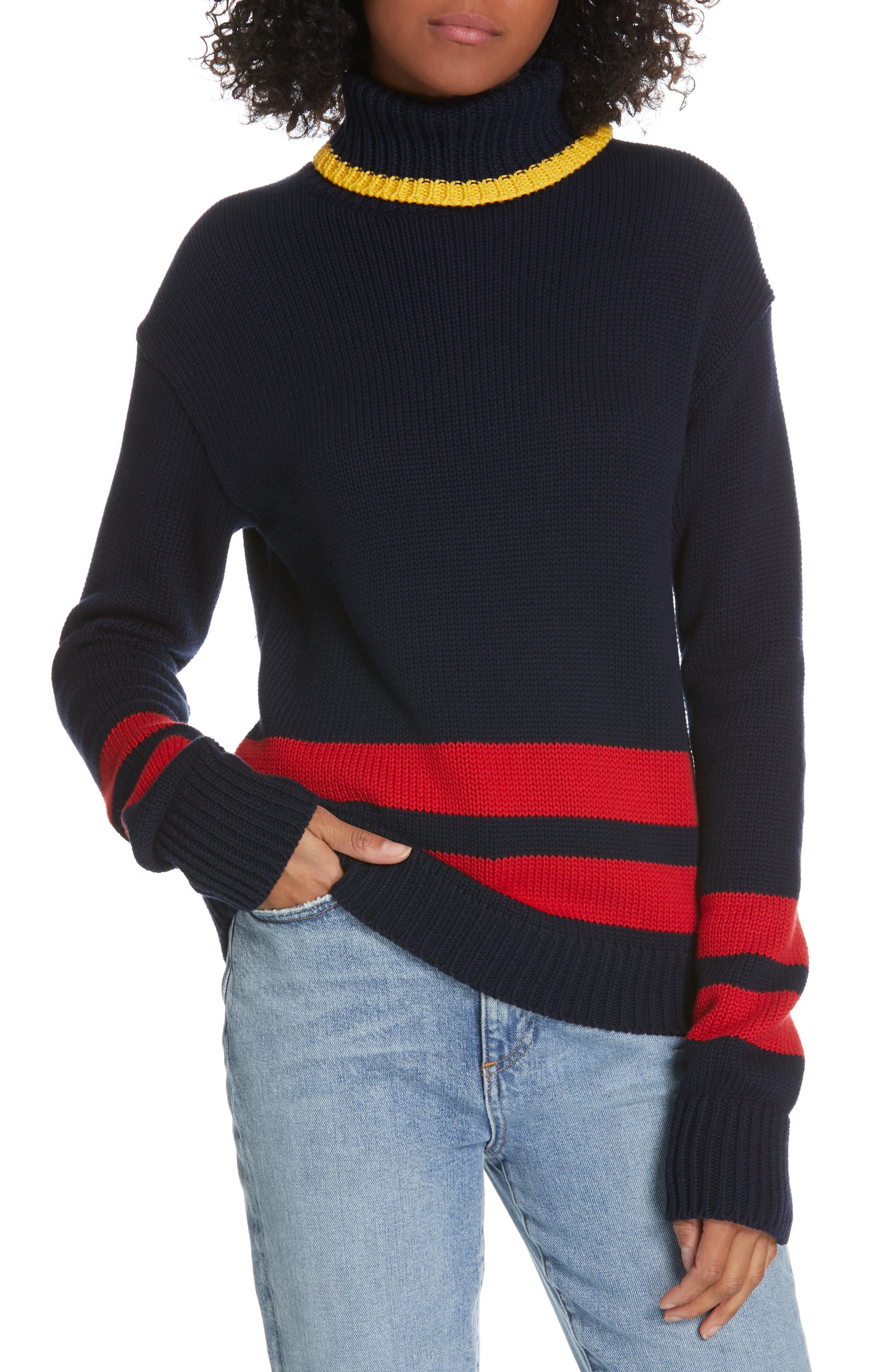 Double Stripe Sweater, Main, color, NAVY/ RED/ GOLD