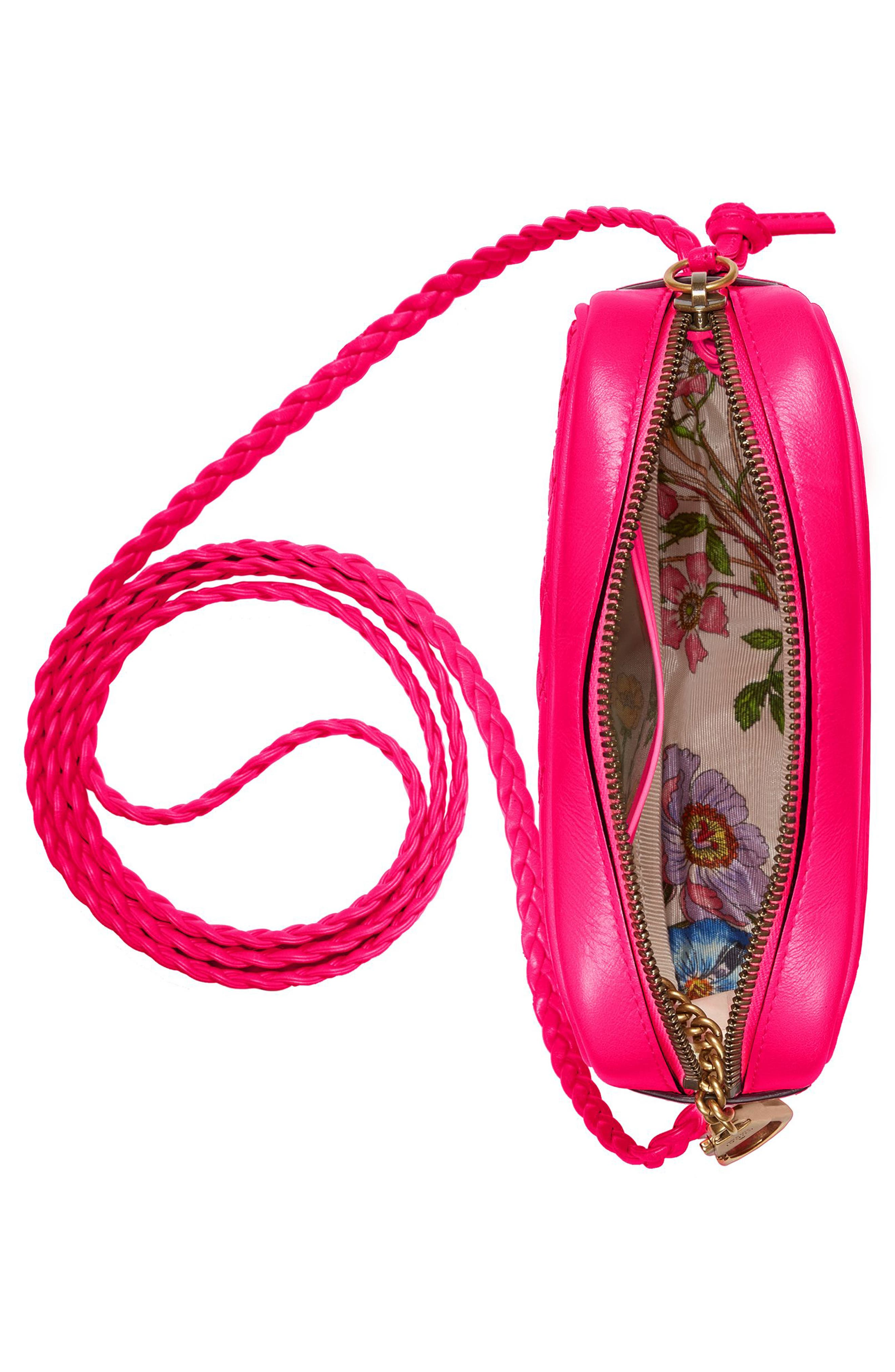 Small Quilted Leather Camera Bag,                             Alternate thumbnail 3, color,                             FUXIA FLOURESCENT