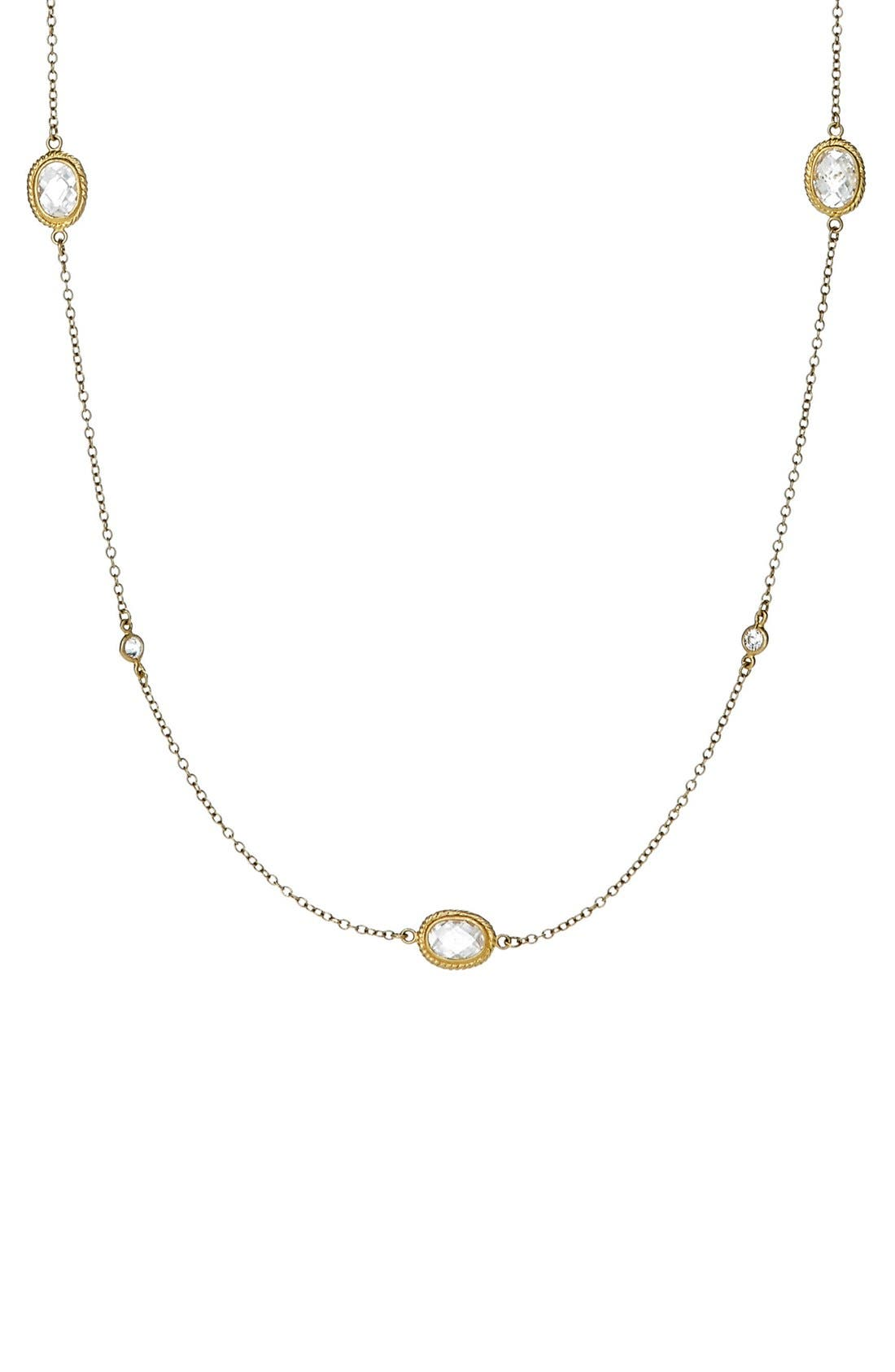 'Mercer' Raindrop Station Long Wrap Necklace,                             Alternate thumbnail 5, color,                             GOLD/ CLEAR